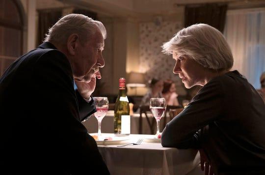 "Aging con man Roy (Ian McKellen) woos well-off widow Betty (Helen Mirren) in the thriller ""The Good Liar."""