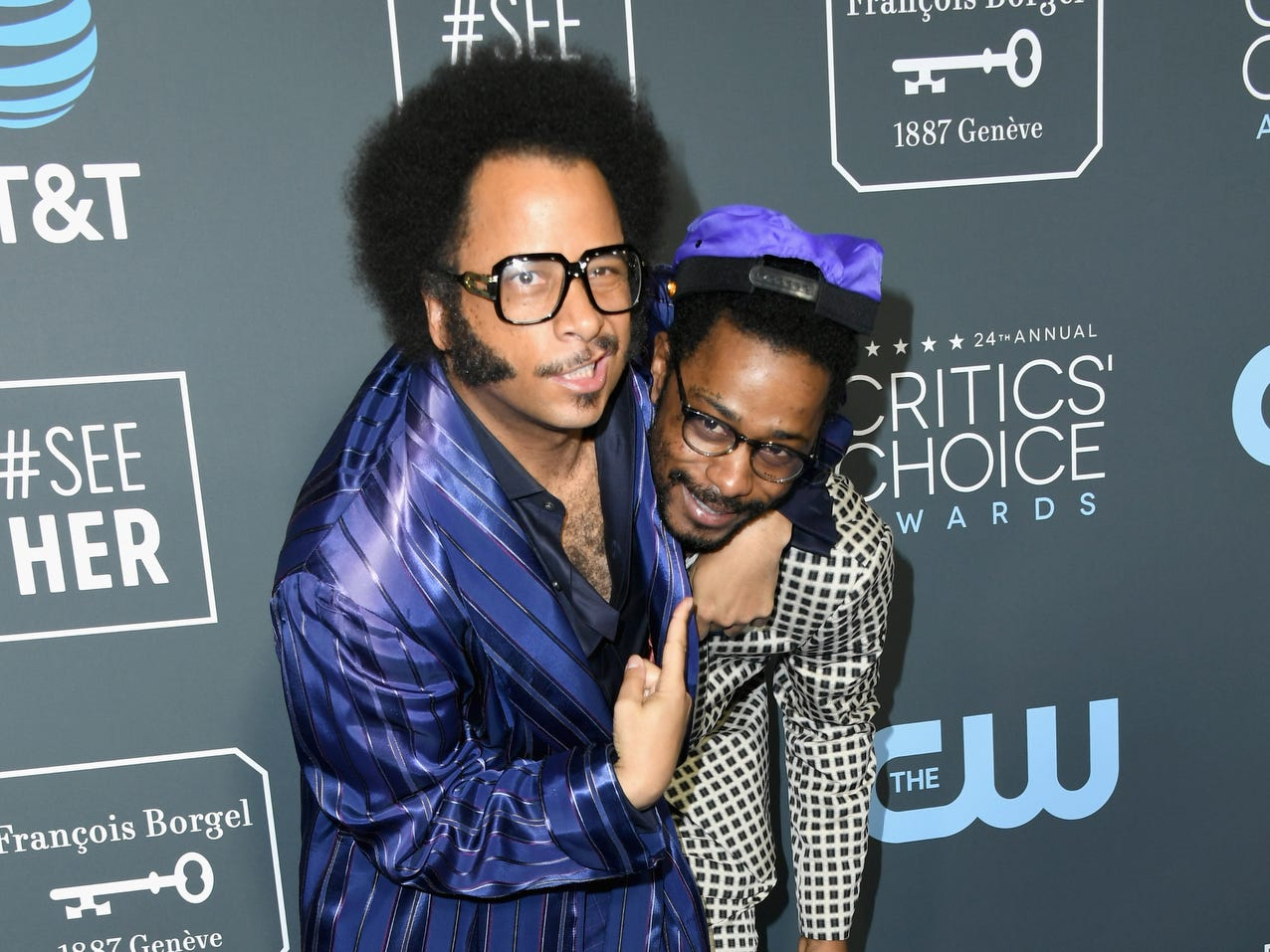 Boots Riley (L) and Lakeith Stanfield ham it up.