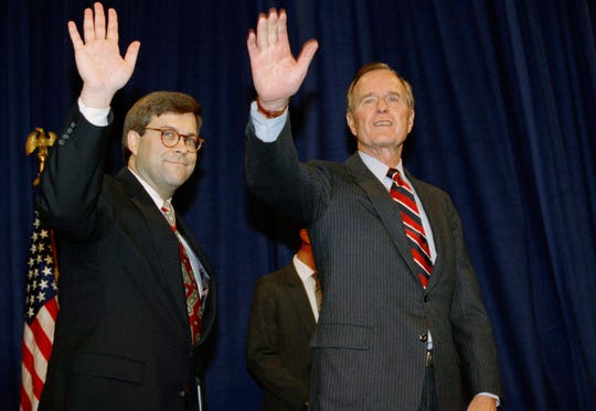 President George H.W Bush and Attorney General William Barr in 1991.