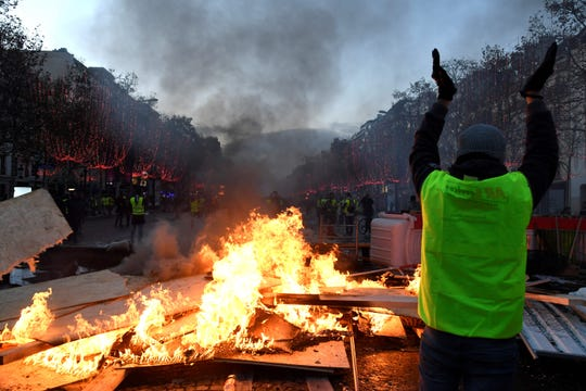 """Yellow Vest"" protesters near the Champs Elysees in Paris on Nov. 24, 2018."