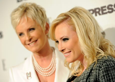 "ORG XMIT: CACP101 Columnist and author Meghan McCain, right, poses with her mother Cindy as they arrive at the ELLE and Express ""25 at 25"" event in West Hollywood, Calif., Thursday, Oct. 7, 2010. (AP Photo/Chris Pizzello)"