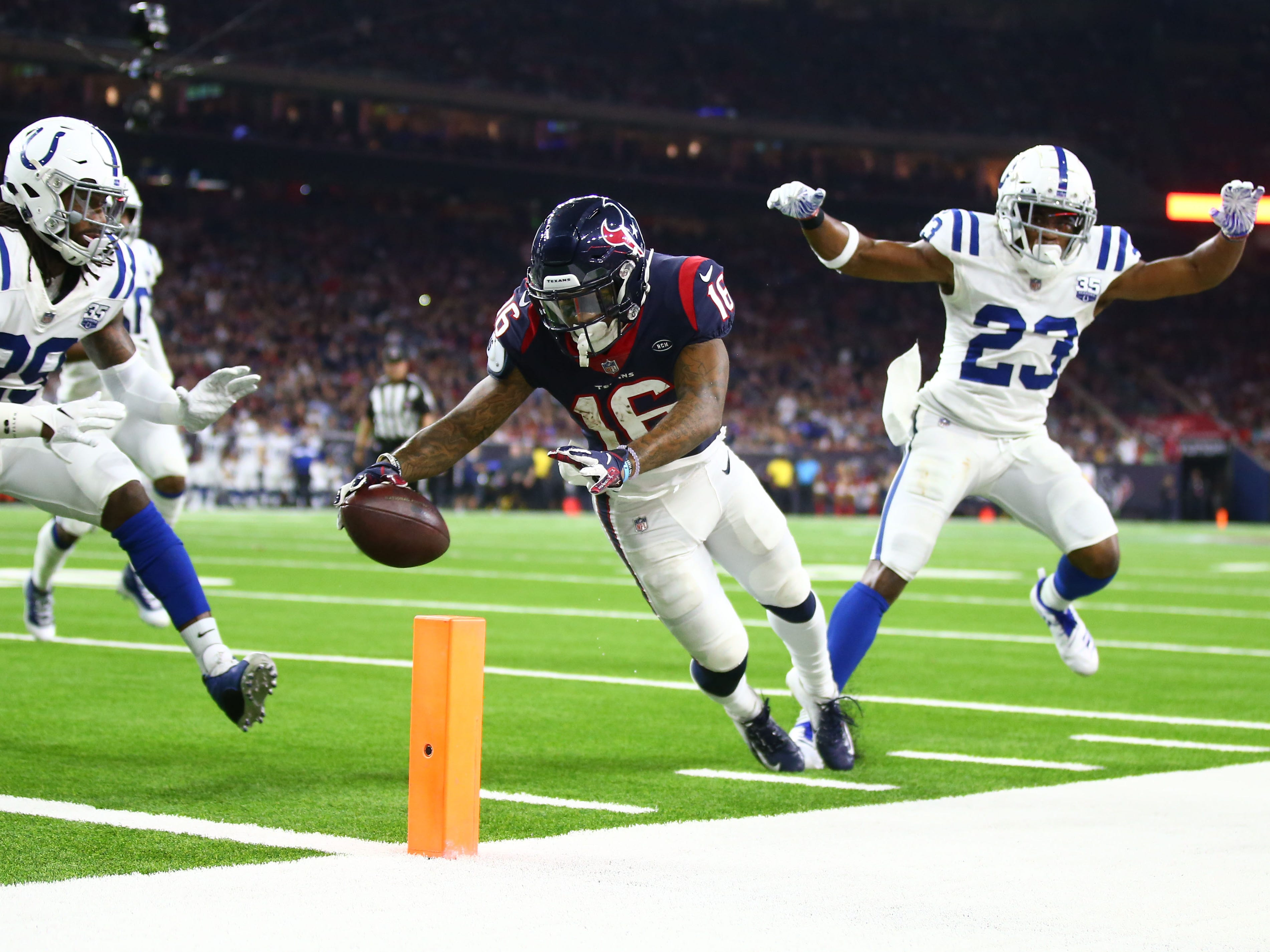 Wild-card playoffs: Houston Texans wide receiver Keke Coutee scores a touchdown against the Indianapolis Colts. The Colts won the game, 21-7.