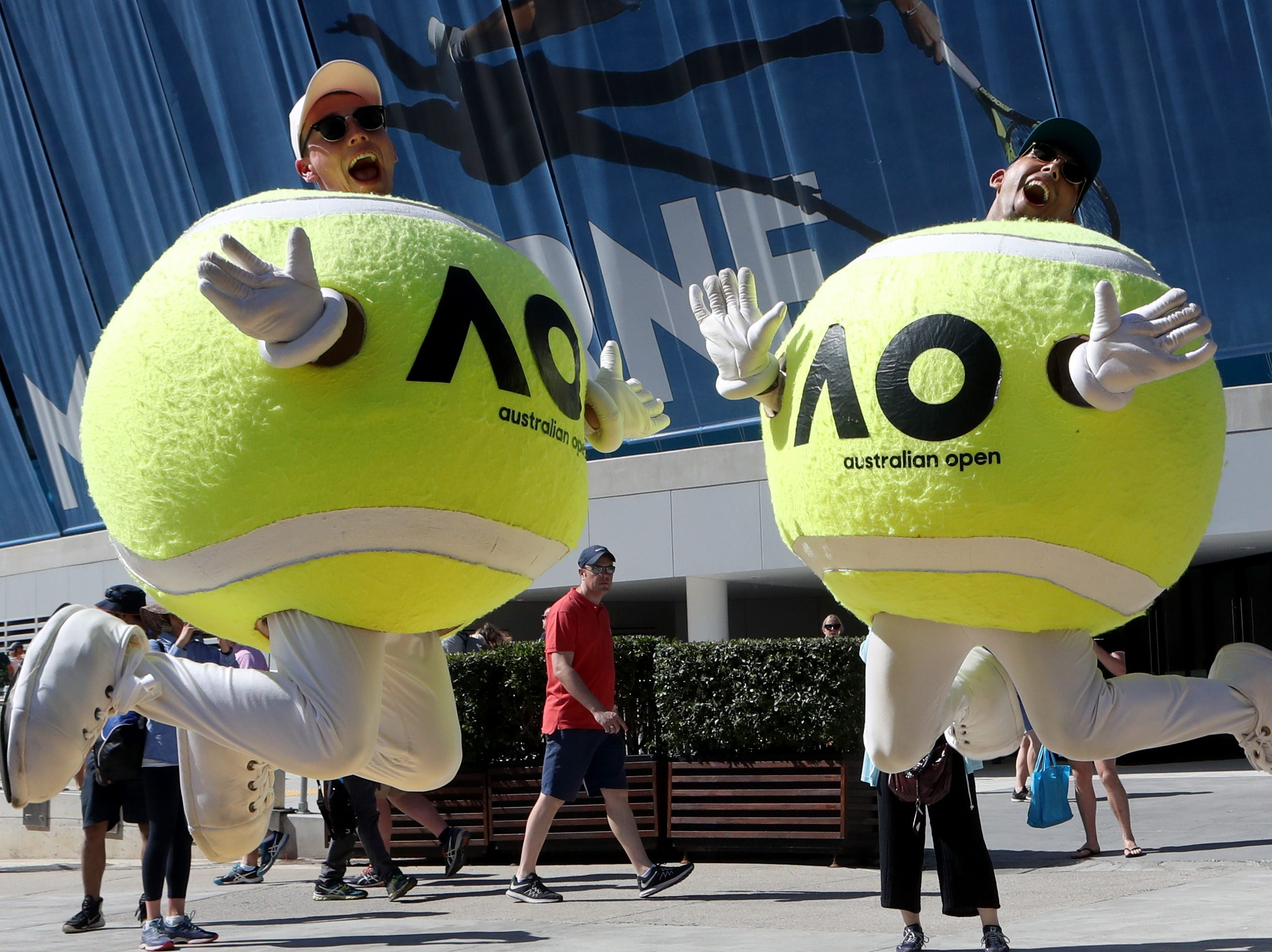 The Australian Open mascots are ready for action.