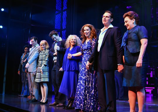 """Carole King joins the Broadway cast of """"Beautiful"""" as she surprises the audience to celebrate the fifth anniversary of the show at Stephen Sondheim Theatre on Jan. 12, 2019."""