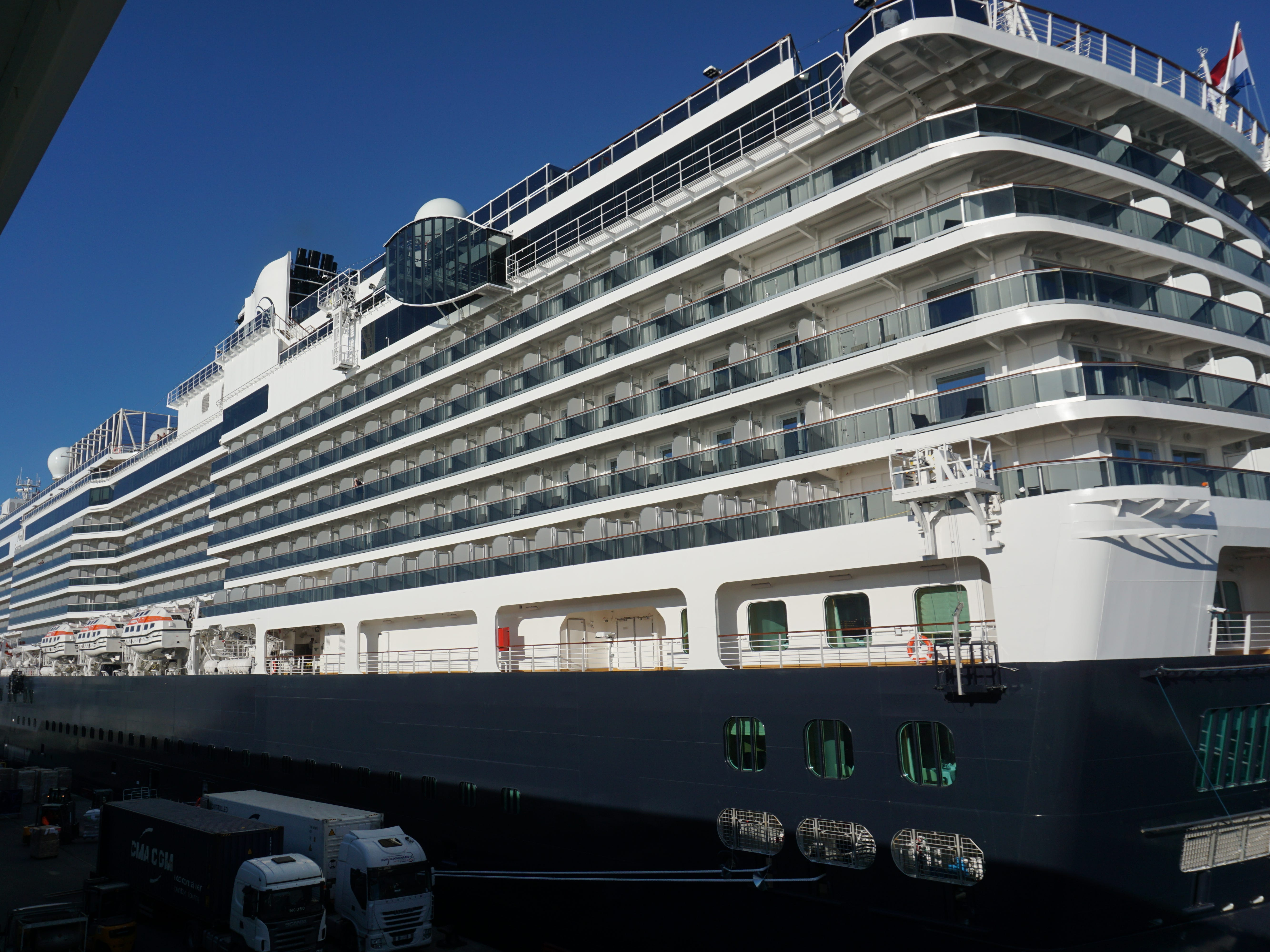 Like most new cruise ships, the Nieuw Statendam has a towering superstructure lined with stateroom balconies.