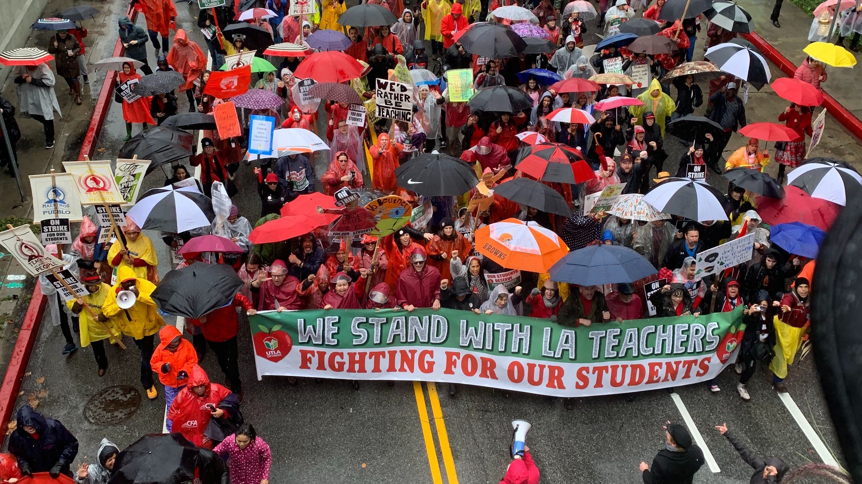 Los Angeles teachers during a city-wide teacher strike, Jan. 14, 2019 outside the Los Angeles Unified School District offices.