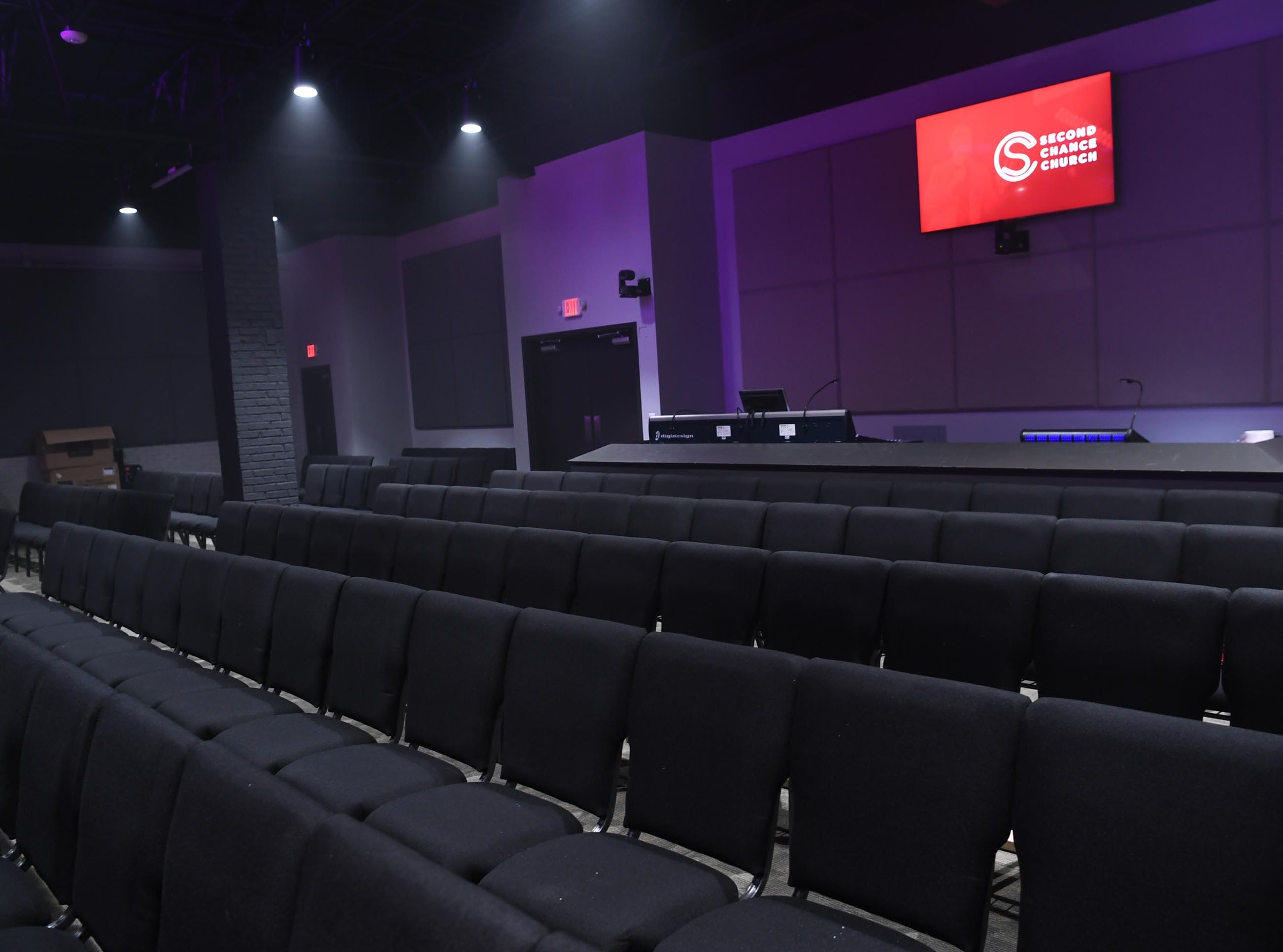 The sanctuary with seating inside Second Chance Church in Anderson. The church holds its first service on January 27.