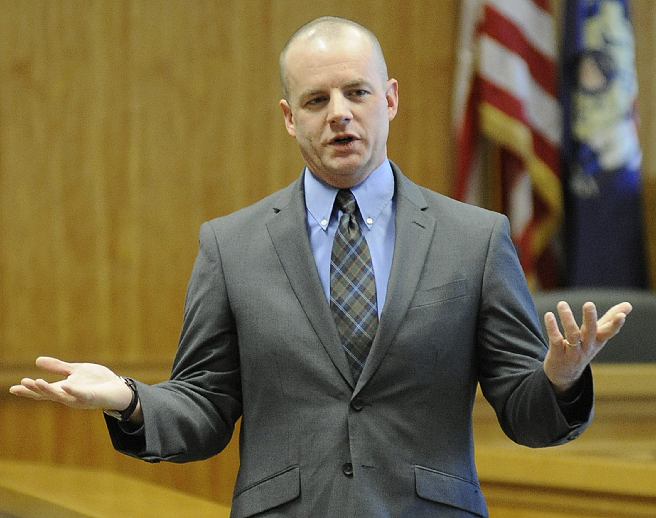 Wood County District Attorney Craig Lambert speaks after a ceremony swearing him into office on Jan. 7,2012.
