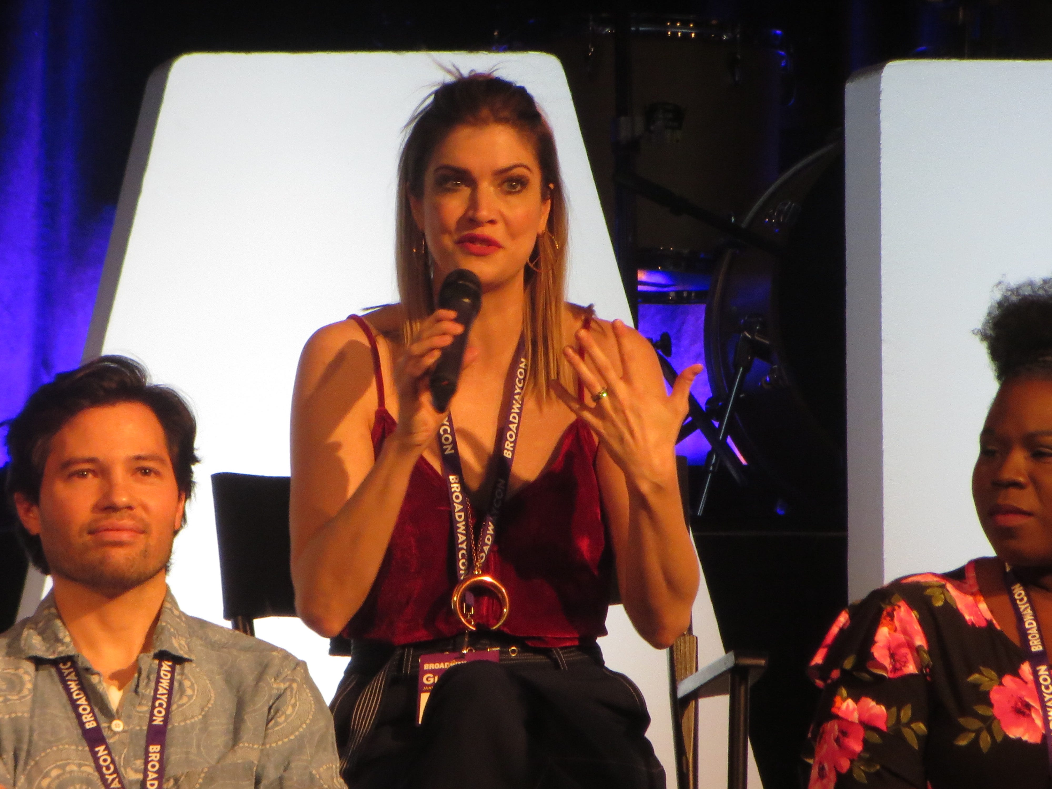"""Katlyn Carlson speaks during a """"Be More Chill"""" panel at BroadwayCon 2019, held Jan. 11 to 13, 2019, at the New York Hilton Midtown in Manhattan."""