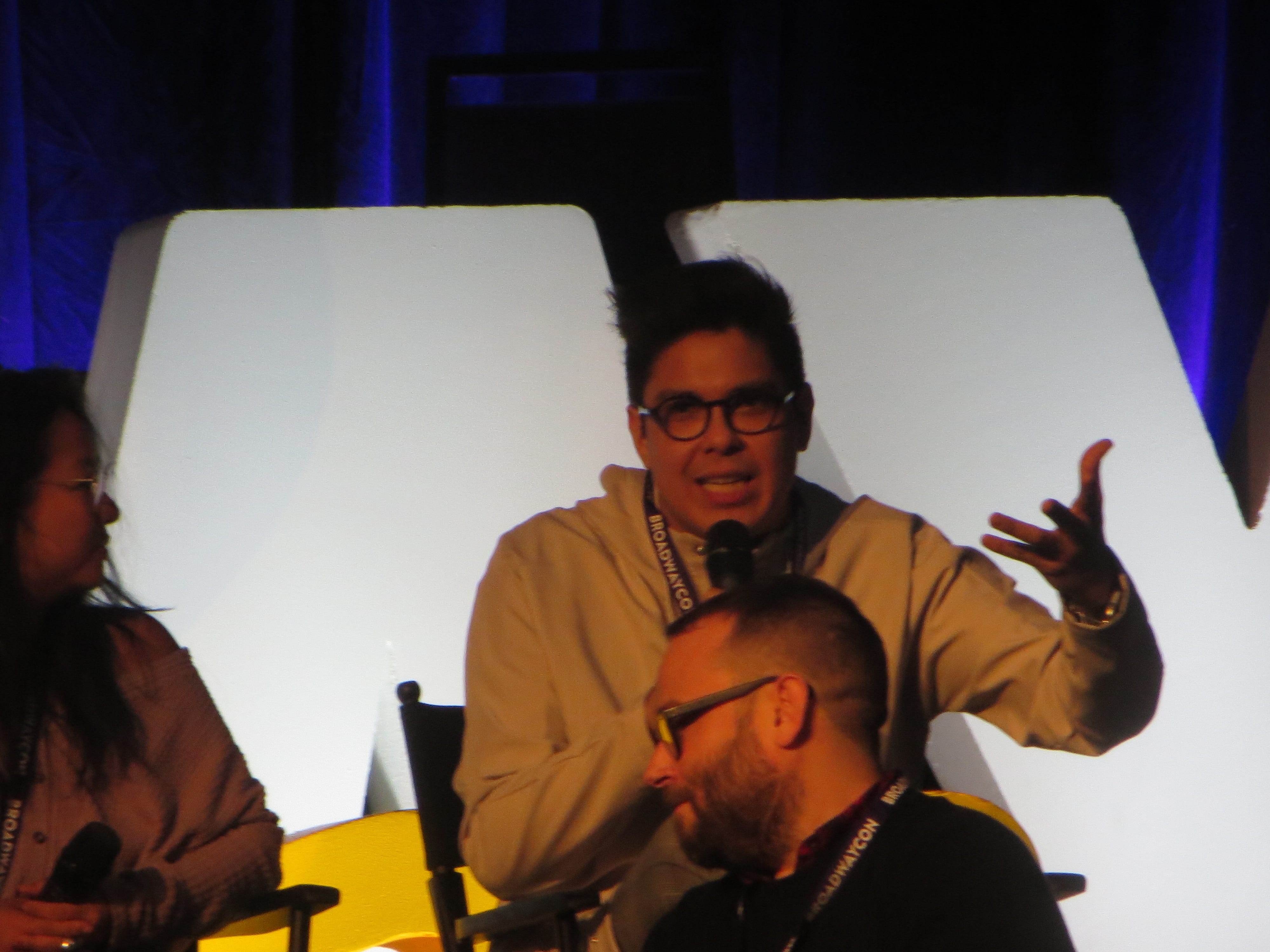 "George Salazar speaks during a ""Be More Chill"" panel at BroadwayCon 2019, held Jan. 11 to 13, 2019, at the New York Hilton Midtown in Manhattan."