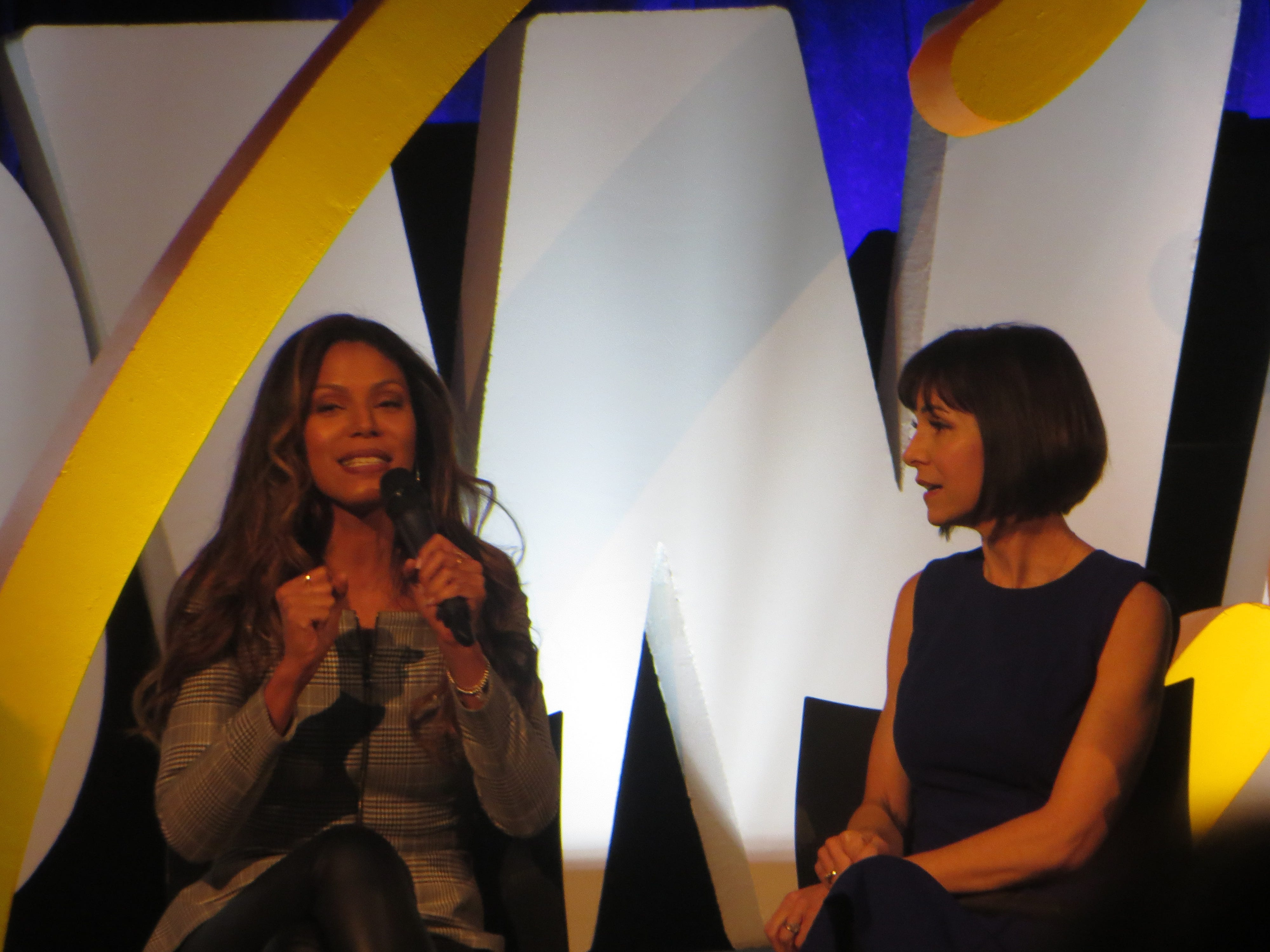 Merle Dandridge and Susan Egan during a Disney on Broadway at 25 panel at BroadwayCon 2019, held Jan. 11 to 13, 2019, at the New York Hilton Midtown in Manhattan.