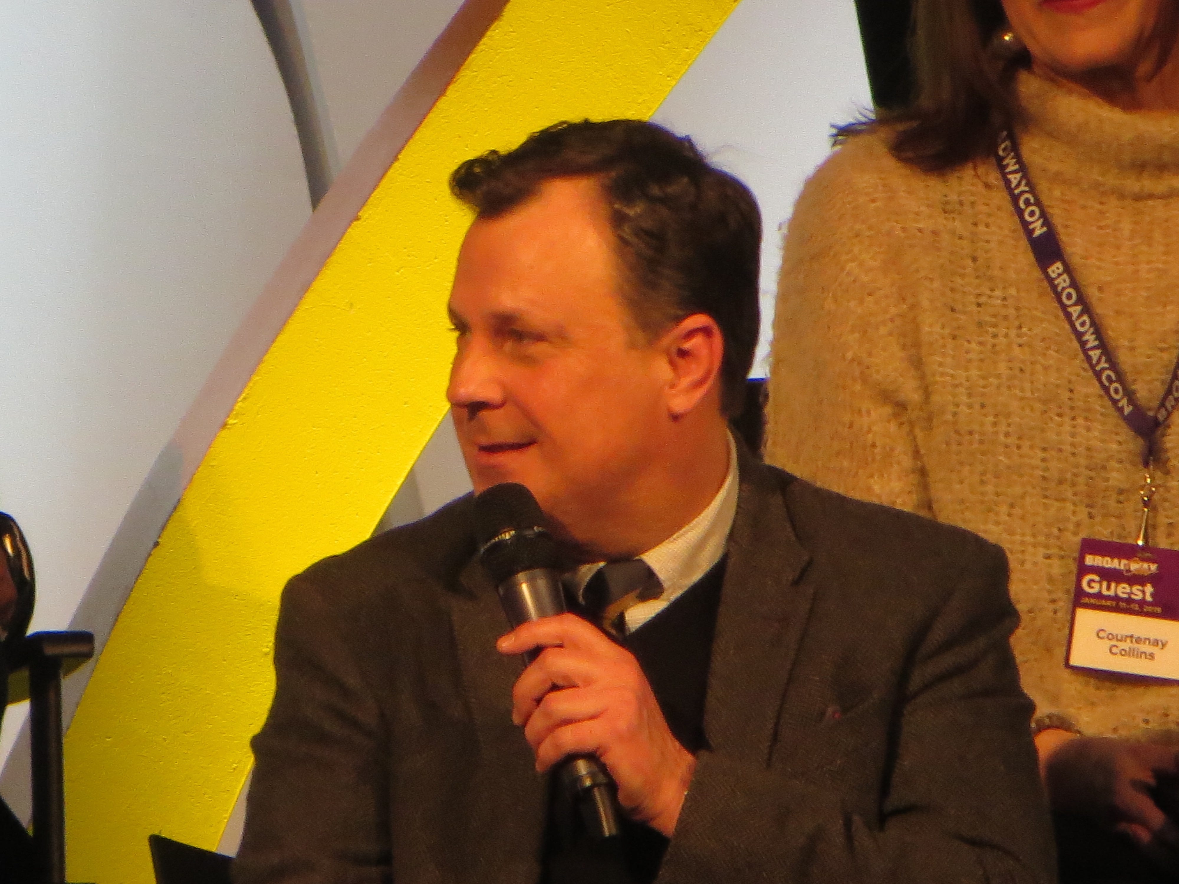 "Brooks Ashmanskas speaks during a spotlight on ""The Prom"" at BroadwayCon 2019, held Jan. 11 to 13, 2019, at the New York Hilton Midtown in Manhattan."