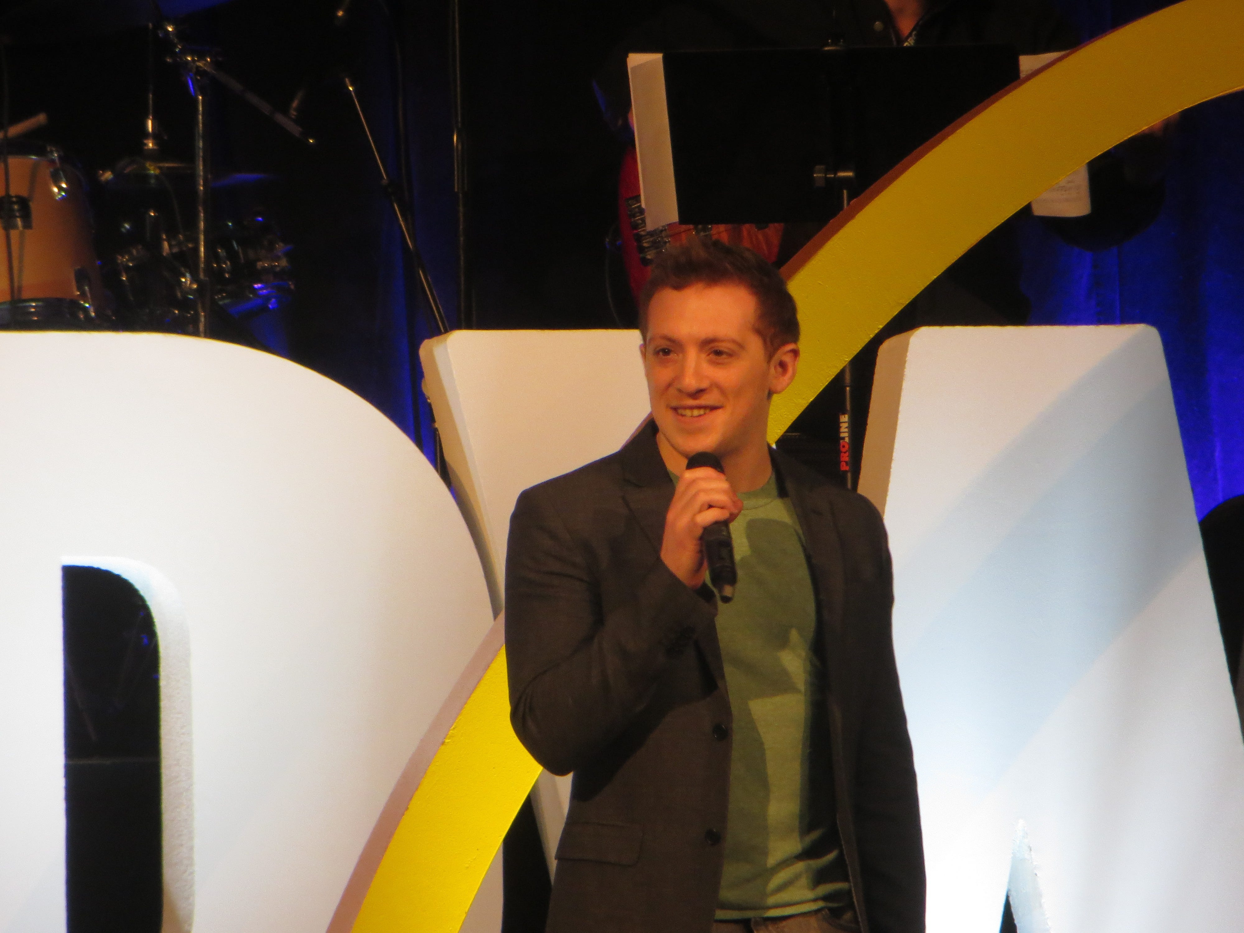 Ethan Slater sings in the opening ceremony at BroadwayCon 2019, held Jan. 11 to 13, 2019, at the New York Hilton Midtown in Manhattan.