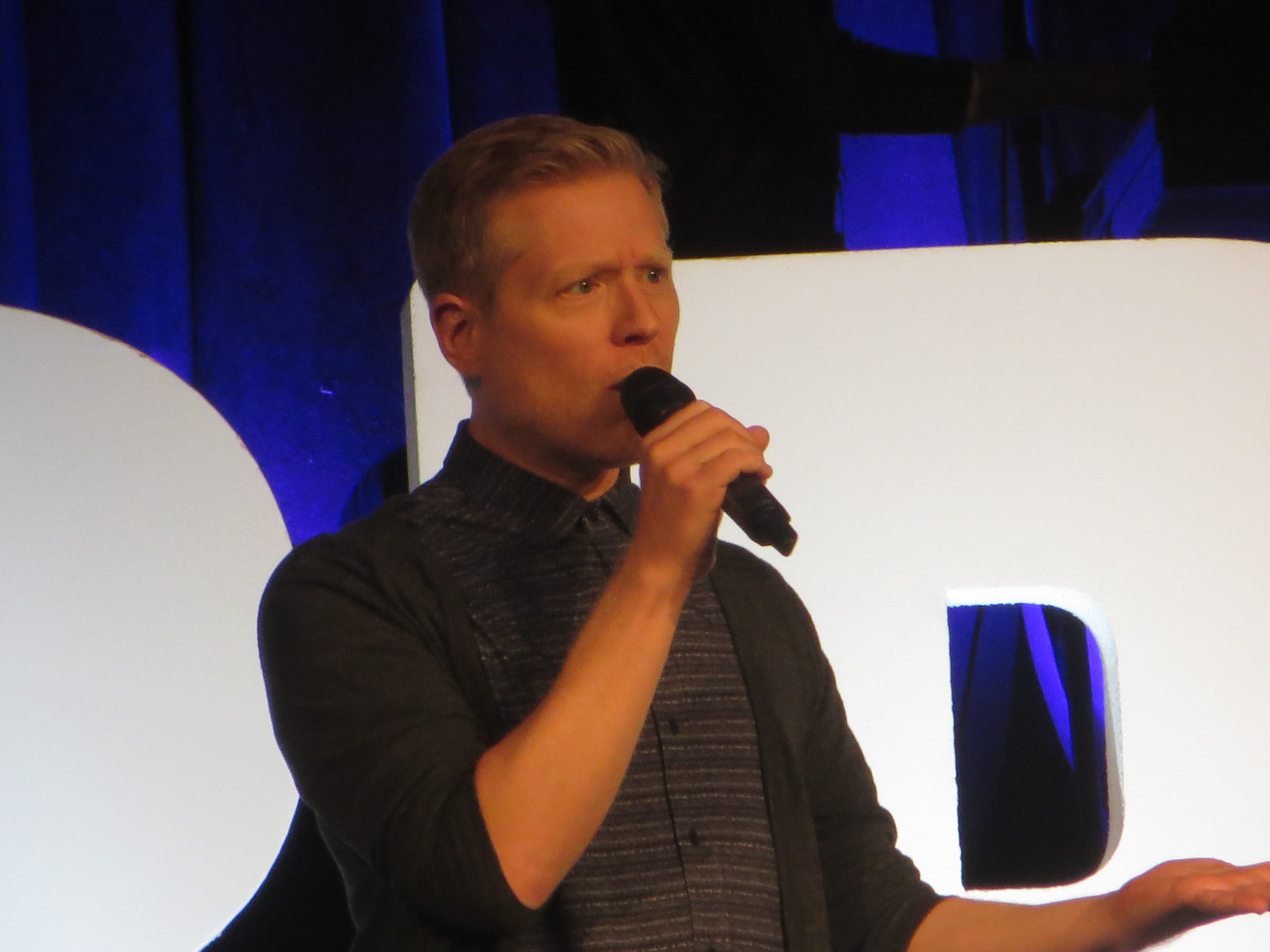 Co-founder Anthony Rapp speaks during the opening ceremony at BroadwayCon 2019, held Jan. 11 to 13, 2019, at the New York Hilton Midtown in Manhattan.