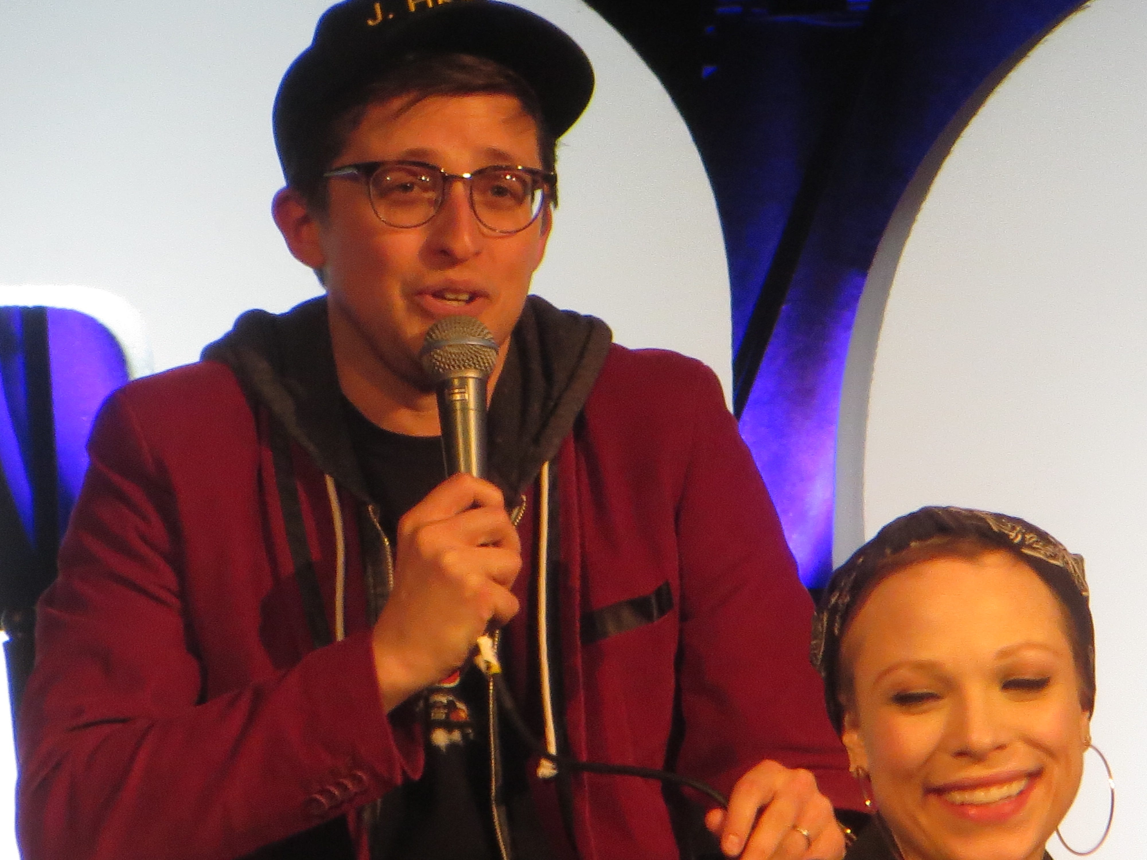 "Will Roland speaks during a ""Be More Chill"" spotlight at BroadwayCon 2019, held Jan. 11 to 13, 2019, at the New York Hilton Midtown in Manhattan."