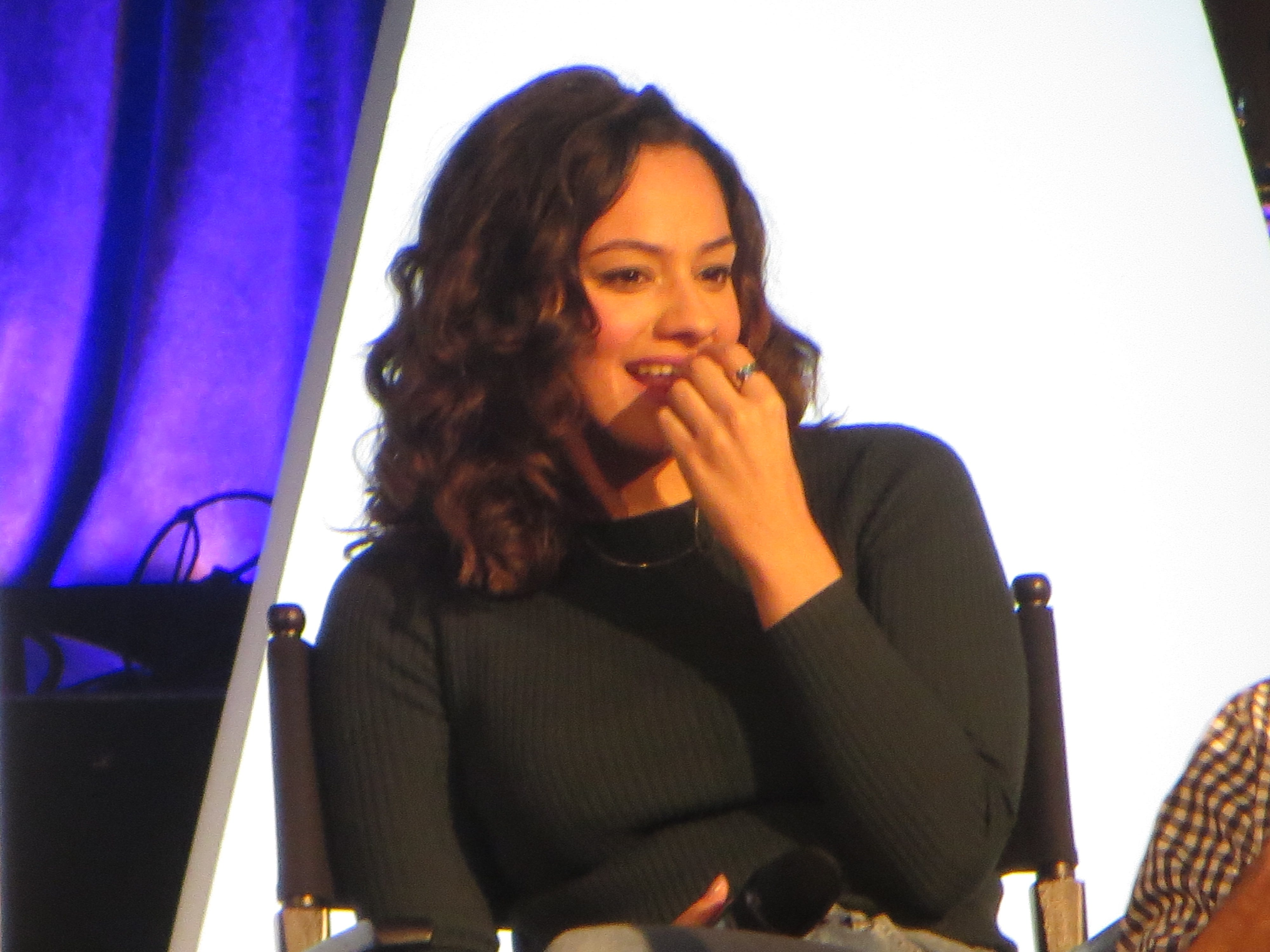 "Isabelle McCalla listens during a spotlight on ""The Prom"" at BroadwayCon 2019, held Jan. 11 to 13, 2019, at the New York Hilton Midtown in Manhattan."