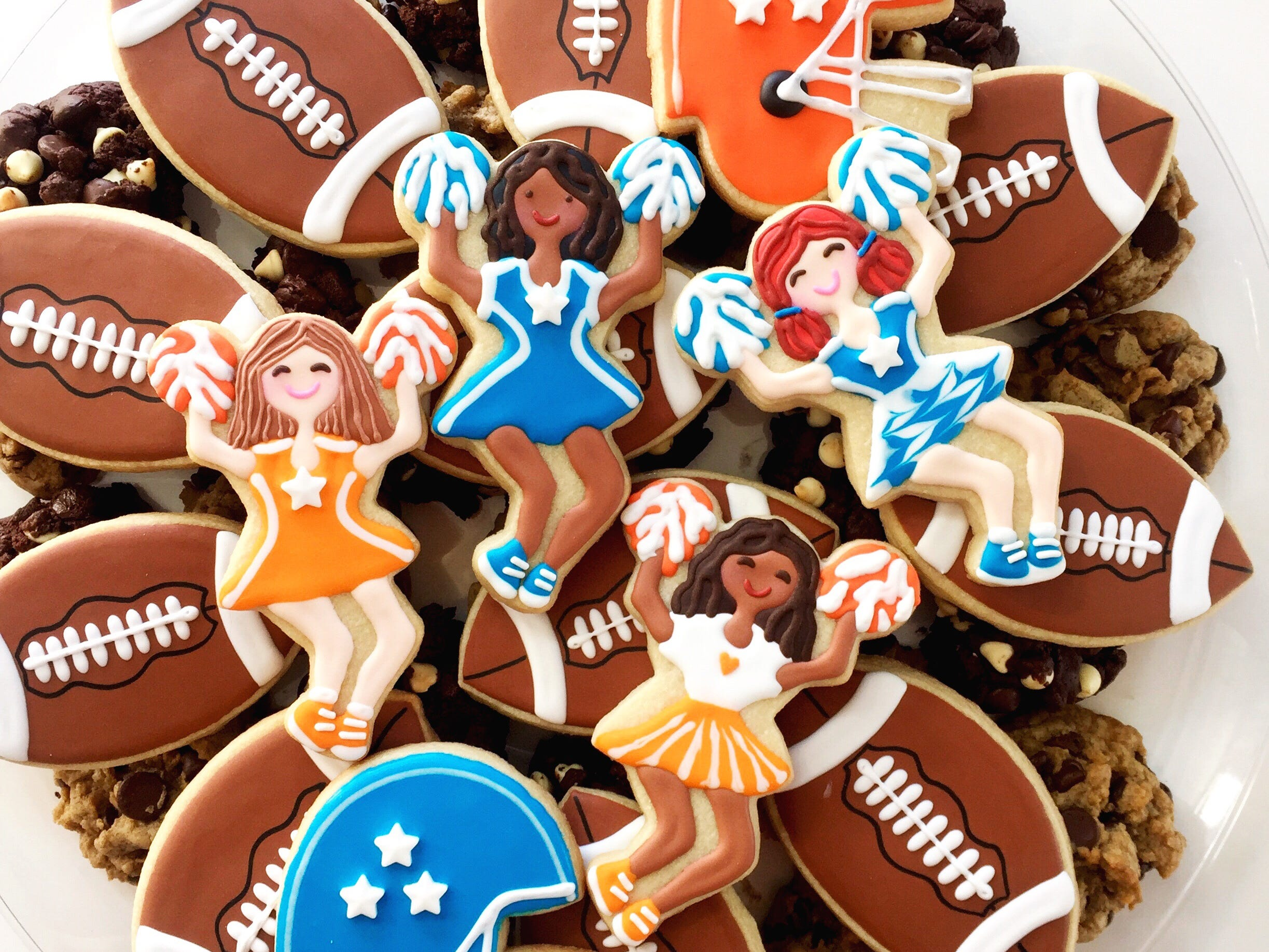 SweetDani B Cookie Kitchen in Asbury Park offers football-themed cookie platters.