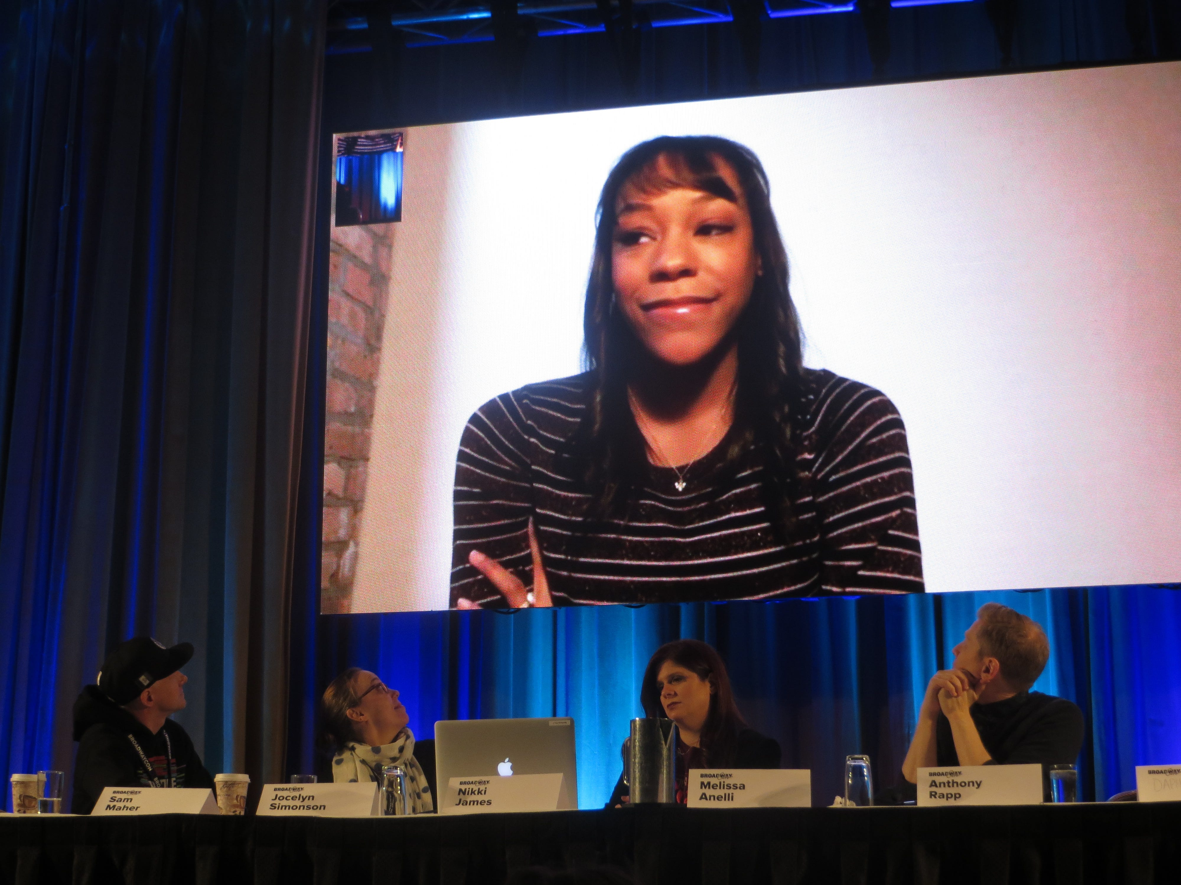 Nikki M. James Facetimes the Rentheads: Where Are We Now panel at BroadwayCon 2019, held Jan. 11 to 13, 2019, at the New York Hilton Midtown in Manhattan.