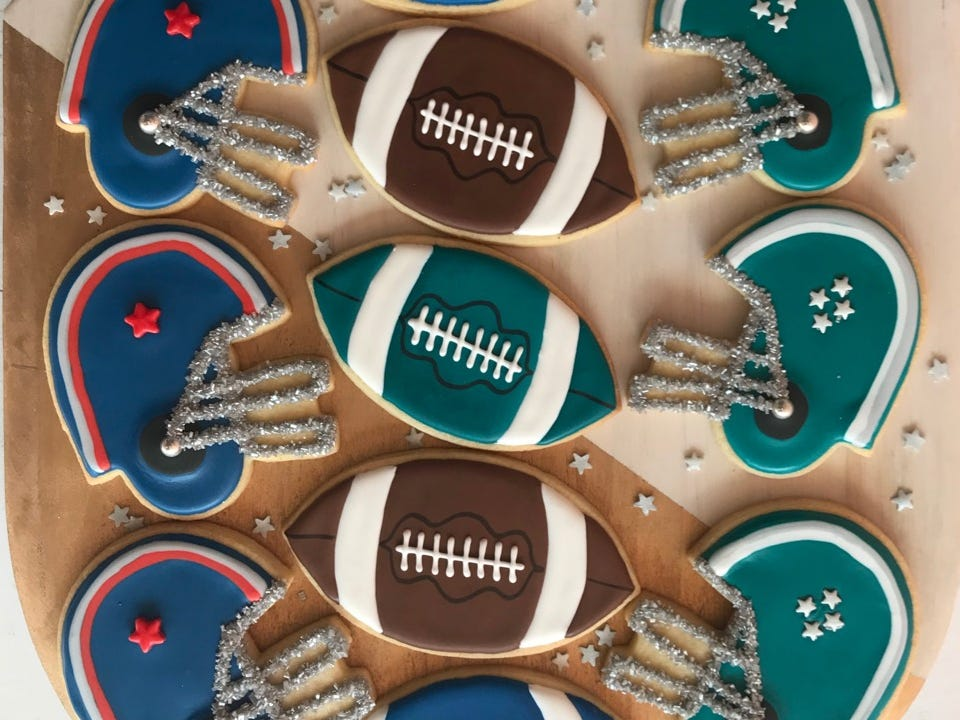 SweetDani B Cookie Kitchen in Asbury Park offers Super Bowl-themed cookie platters.