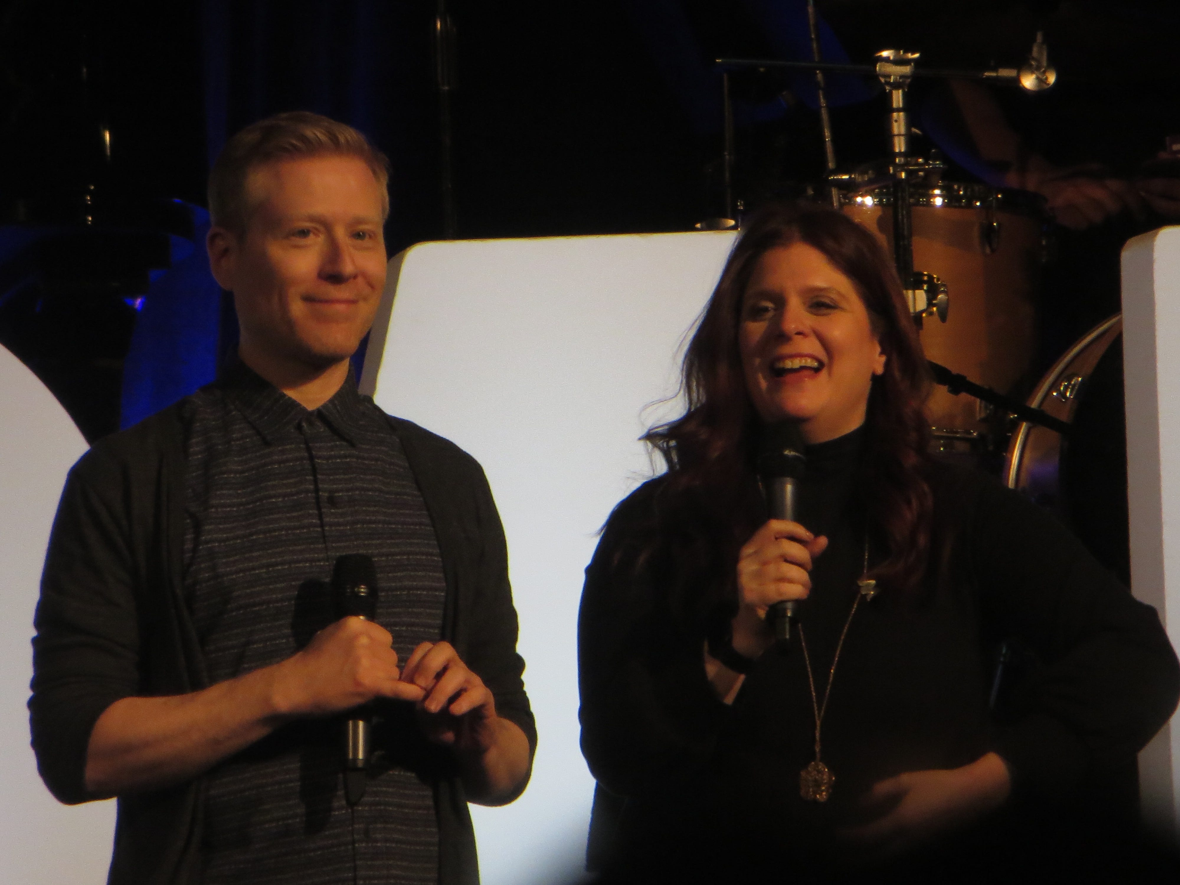 Co-founders Anthony Rapp and Melissa Anelli at BroadwayCon 2019, held Jan. 11 to 13, 2019, at the New York Hilton Midtown in Manhattan.