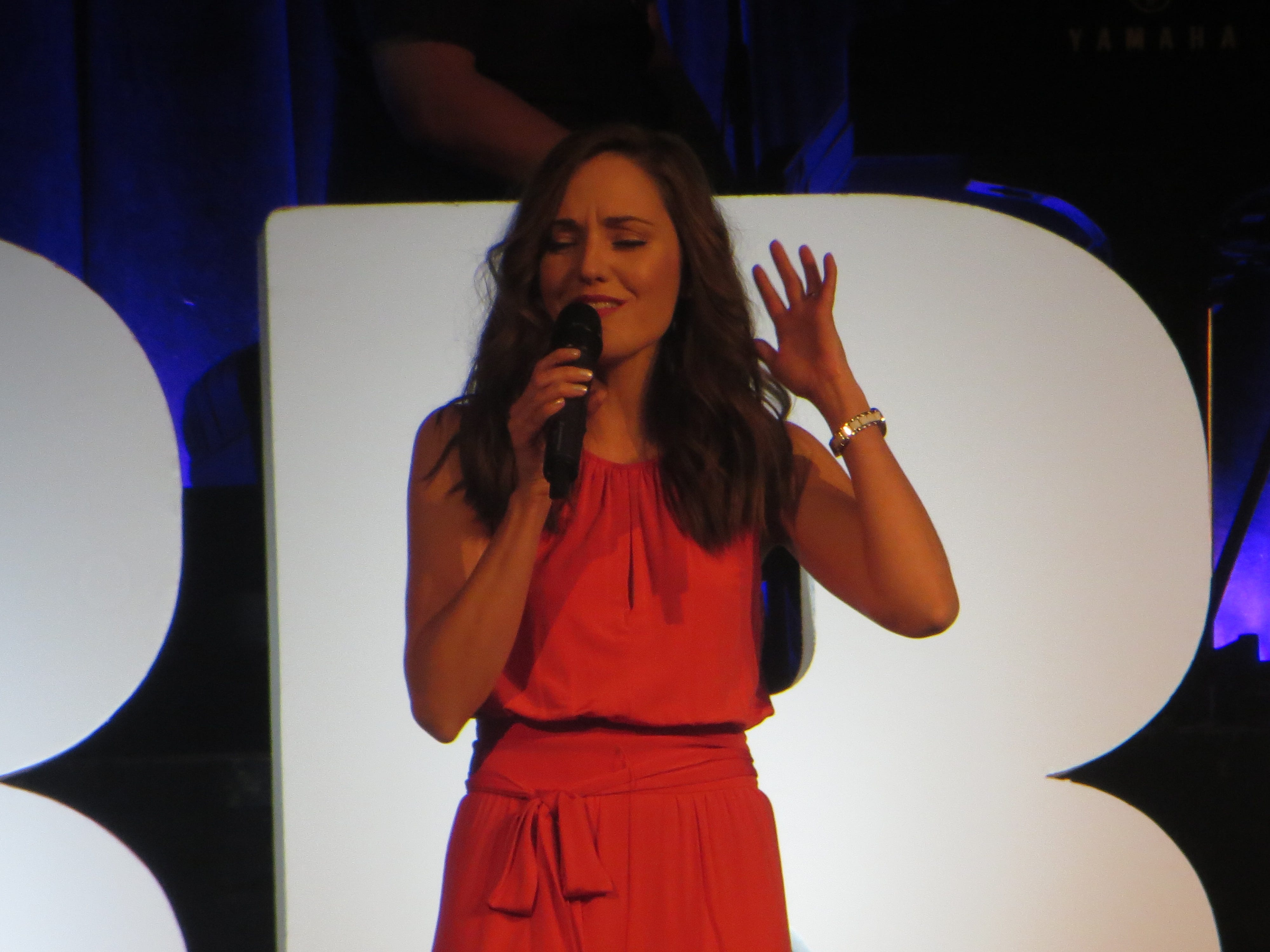 Laura Osnes performs at BroadwayCon 2019, held Jan. 11 to 13, 2019, at the New York Hilton Midtown in Manhattan.