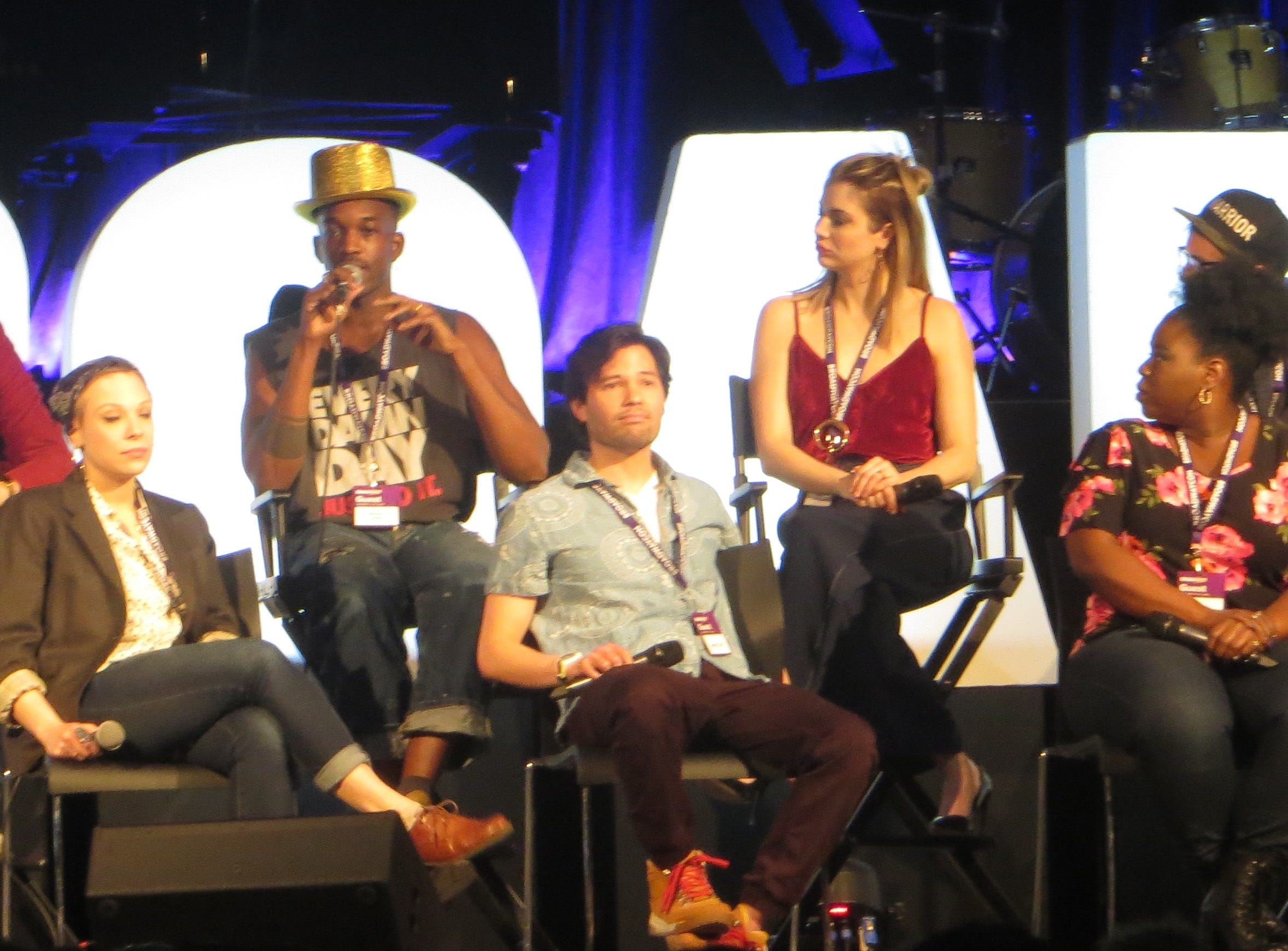 "The cast of ""Be More Chill"" at BroadwayCon 2019, held Jan. 11 to 13, 2019, at the New York Hilton Midtown in Manhattan."