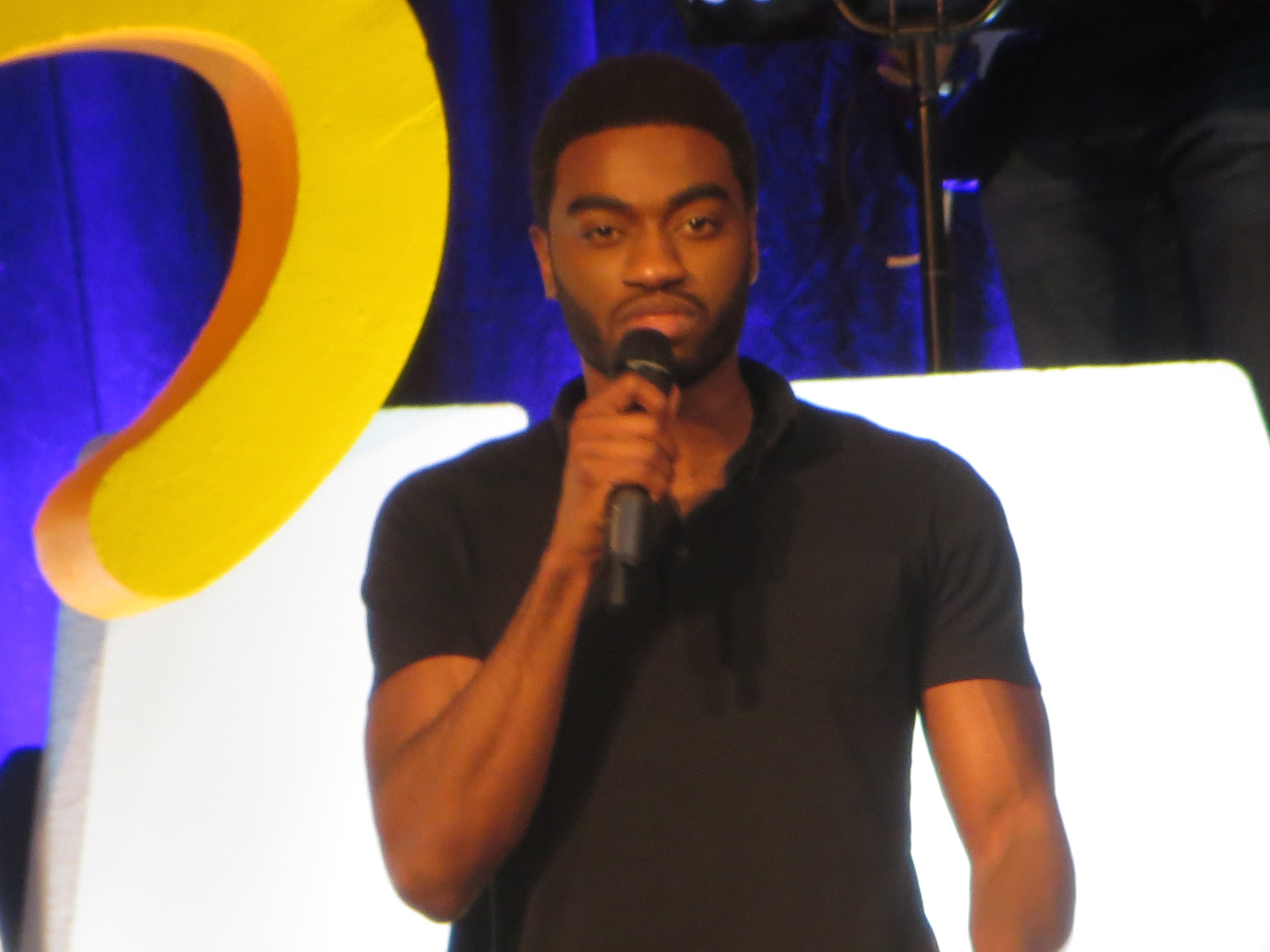 Jelani Alladin performs at BroadwayCon 2019, held Jan. 11 to 13, 2019, at the New York Hilton Midtown in Manhattan.