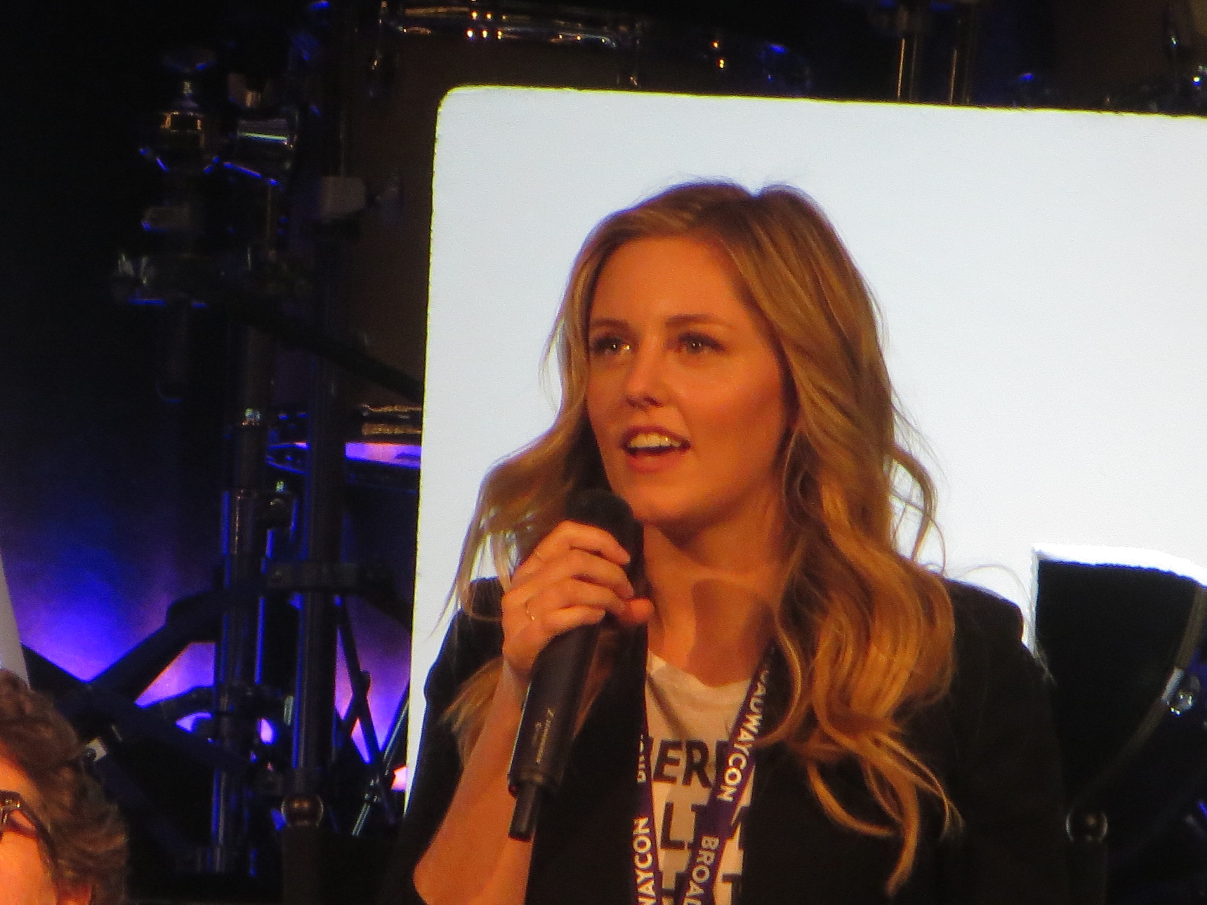 "Taylor Louderman speaks during a spotlight on ""Mean Girls"" at BroadwayCon 2019, held Jan. 11 to 13, 2019, at the New York Hilton Midtown in Manhattan."