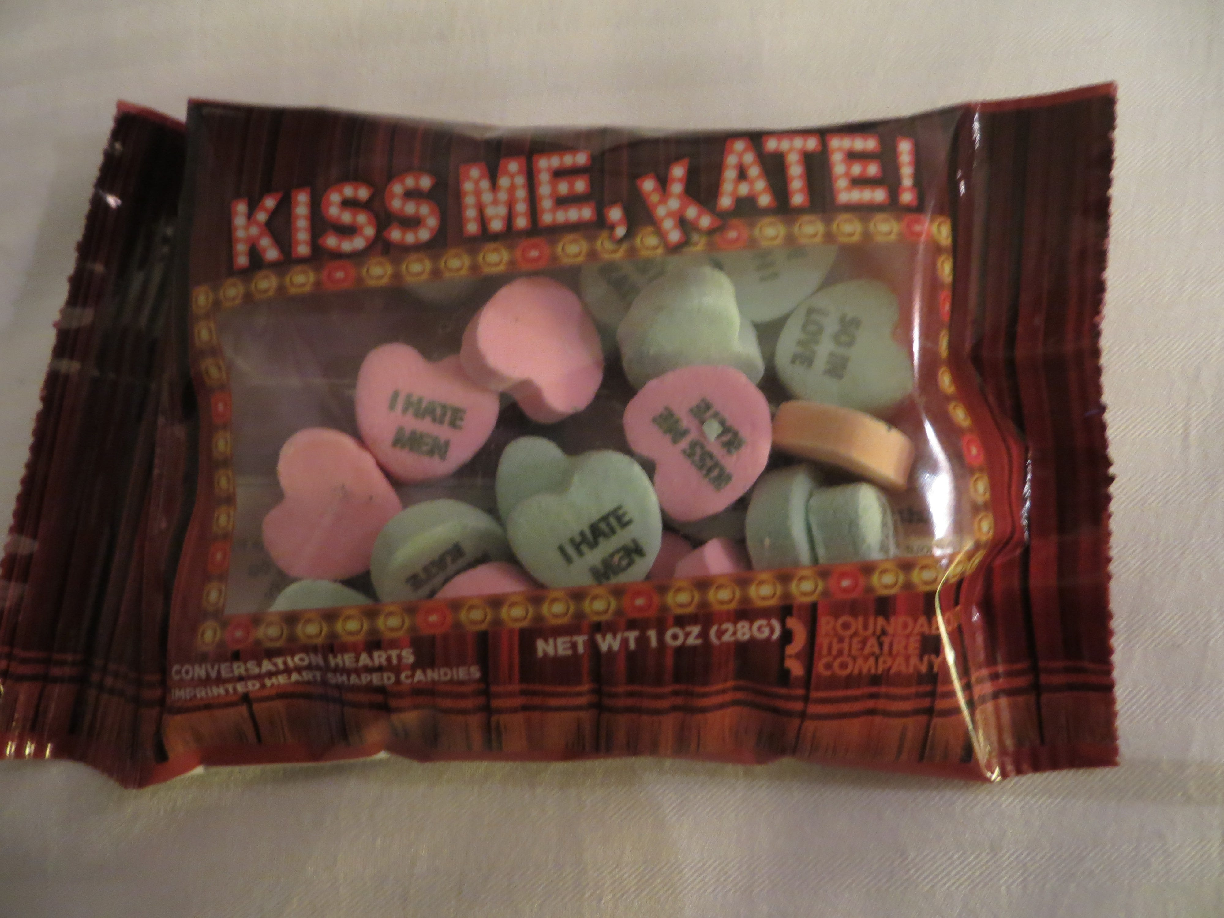 """Kiss Me, Kate"" candy hearts from Roundabout Theatre Company's upcoming revival at BroadwayCon 2019, held Jan. 11 to 13, 2019, at the New York Hilton Midtown in Manhattan."
