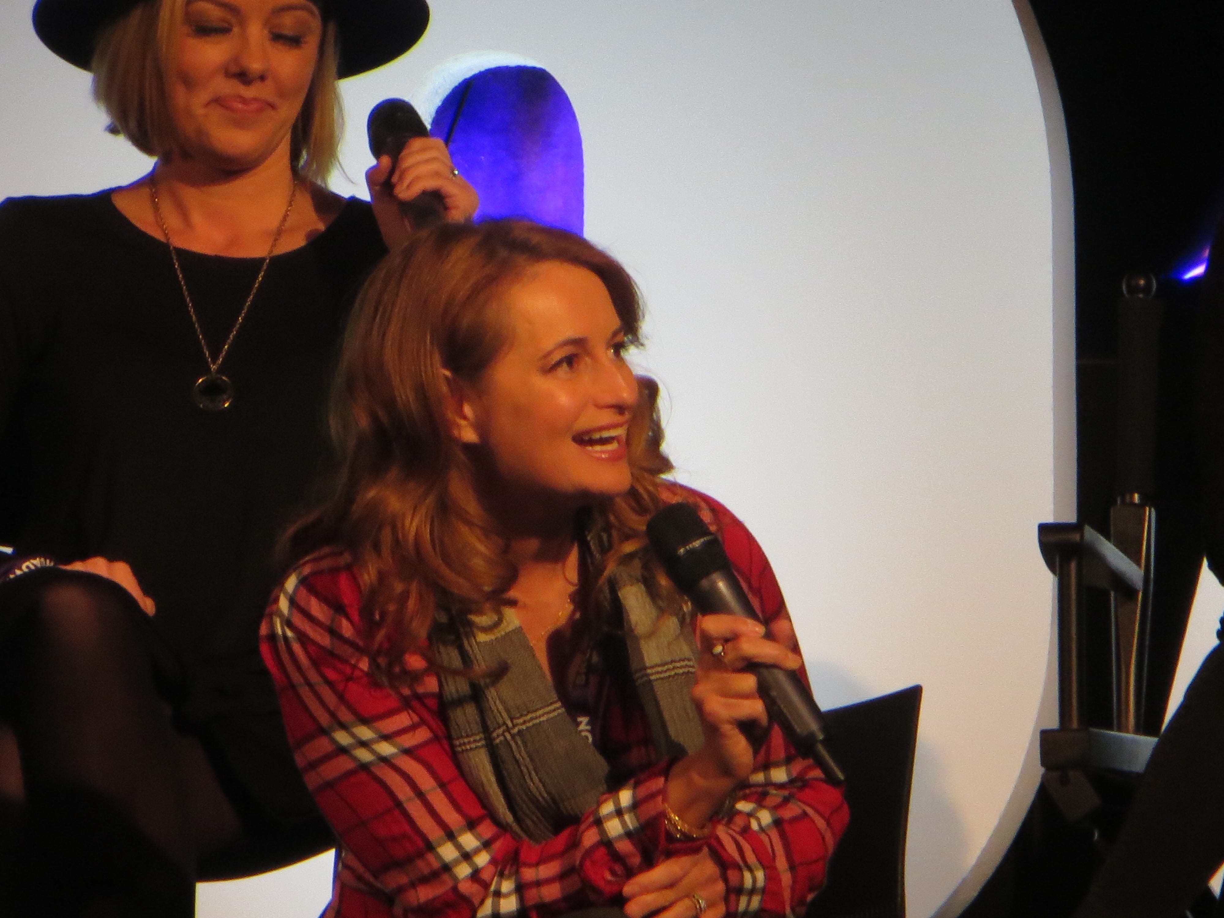 """Nell Benjamin speaks during a spotlight on """"Mean Girls"""" at BroadwayCon 2019, held Jan. 11 to 13, 2019, at the New York Hilton Midtown in Manhattan."""