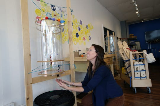 Lauren Stout. owner of Creativity Lab, a business that offers classes, workshops and parties for kids with fun activities like building robots, crafting and woodworking, demonstrates the wind tunnel station at Creativity Lab in Belmar, NJ Tuesday January 15, 2019.