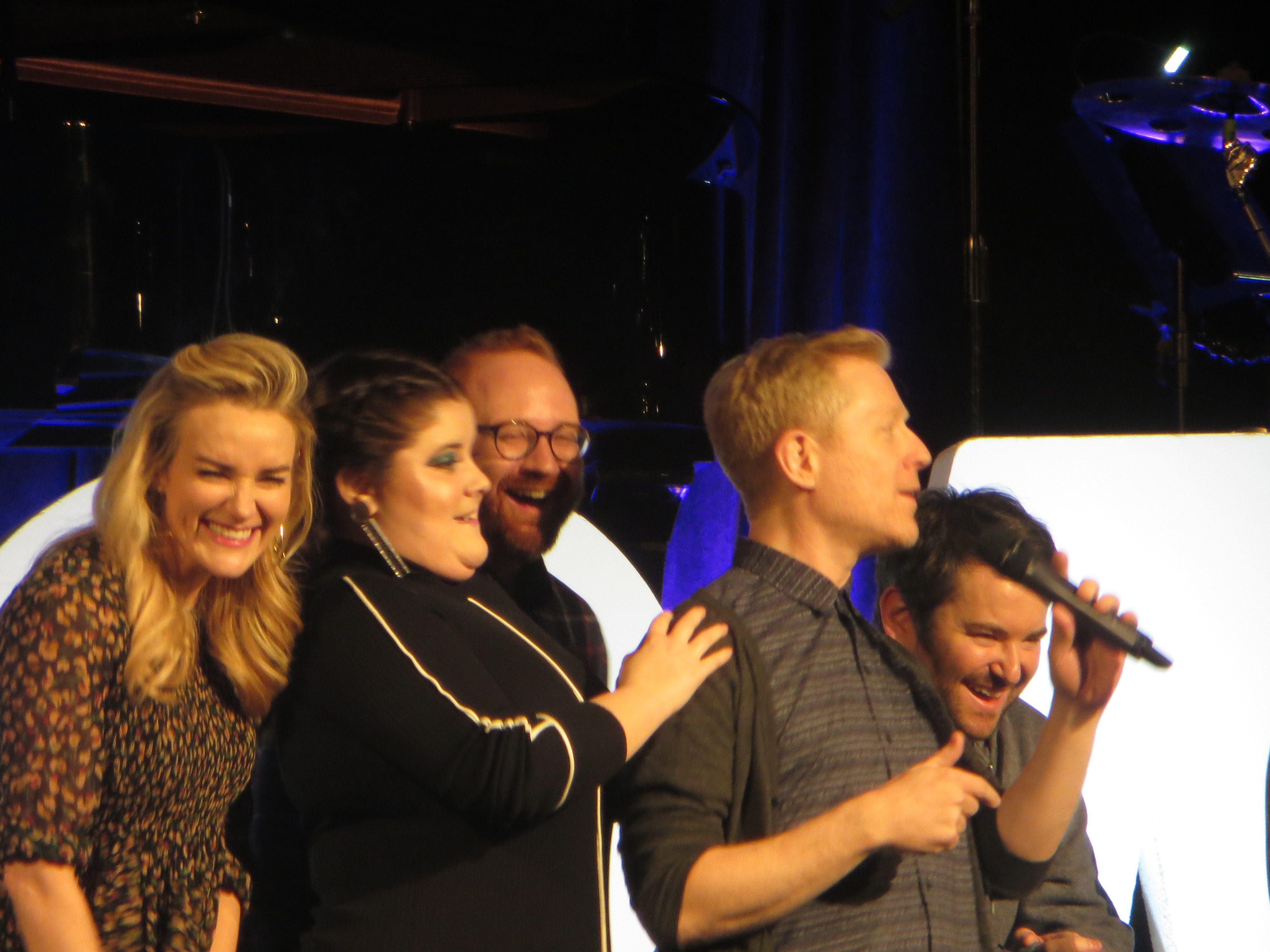Betsy Wolfe, Ryann Redmond, David Alpert, Anthony Rapp and Alex Brightman during BroadwayCon Jukebox at BroadwayCon 2019, held Jan. 11 to 13, 2019, at the New York Hilton Midtown in Manhattan.