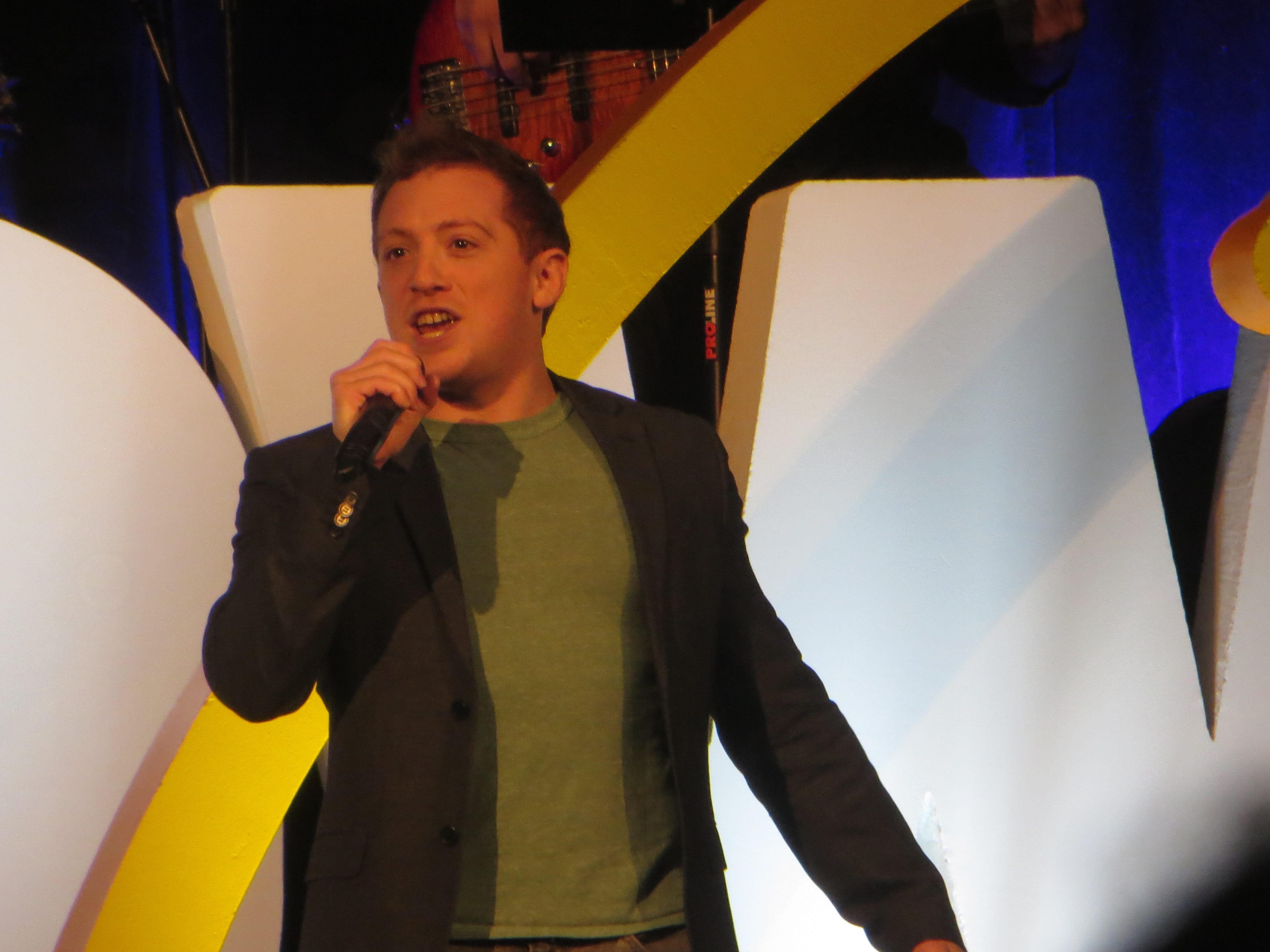 Ethan Slater sings during the opening ceremony at BroadwayCon 2019, held Jan. 11 to 13, 2019, at the New York Hilton Midtown in Manhattan.