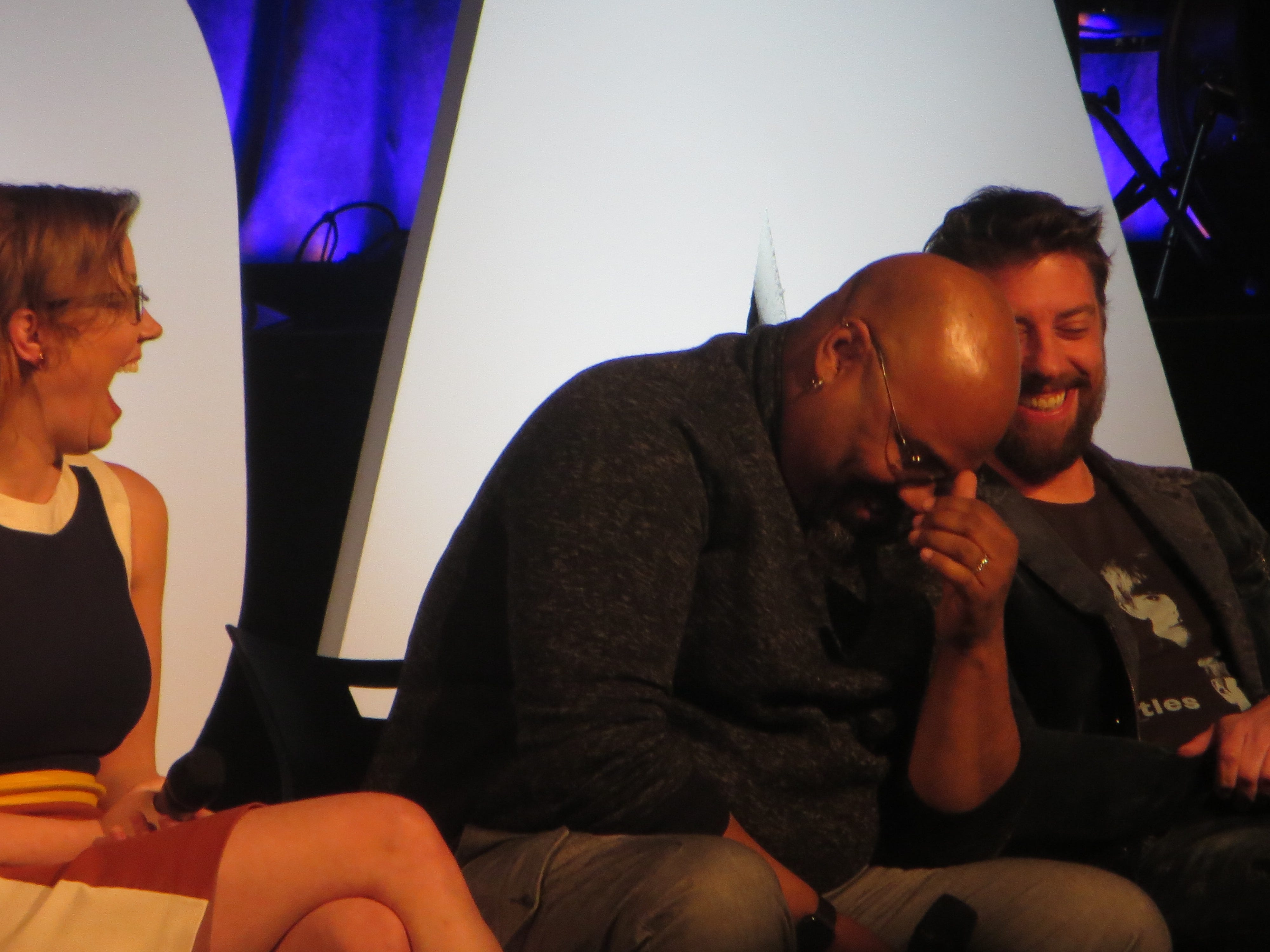 Patti Murin, James Monroe Iglehart and Christian Borle laugh during a Disney on Broadway at 25 panel at BroadwayCon 2019, held Jan. 11 to 13, 2019, at the New York Hilton Midtown in Manhattan.