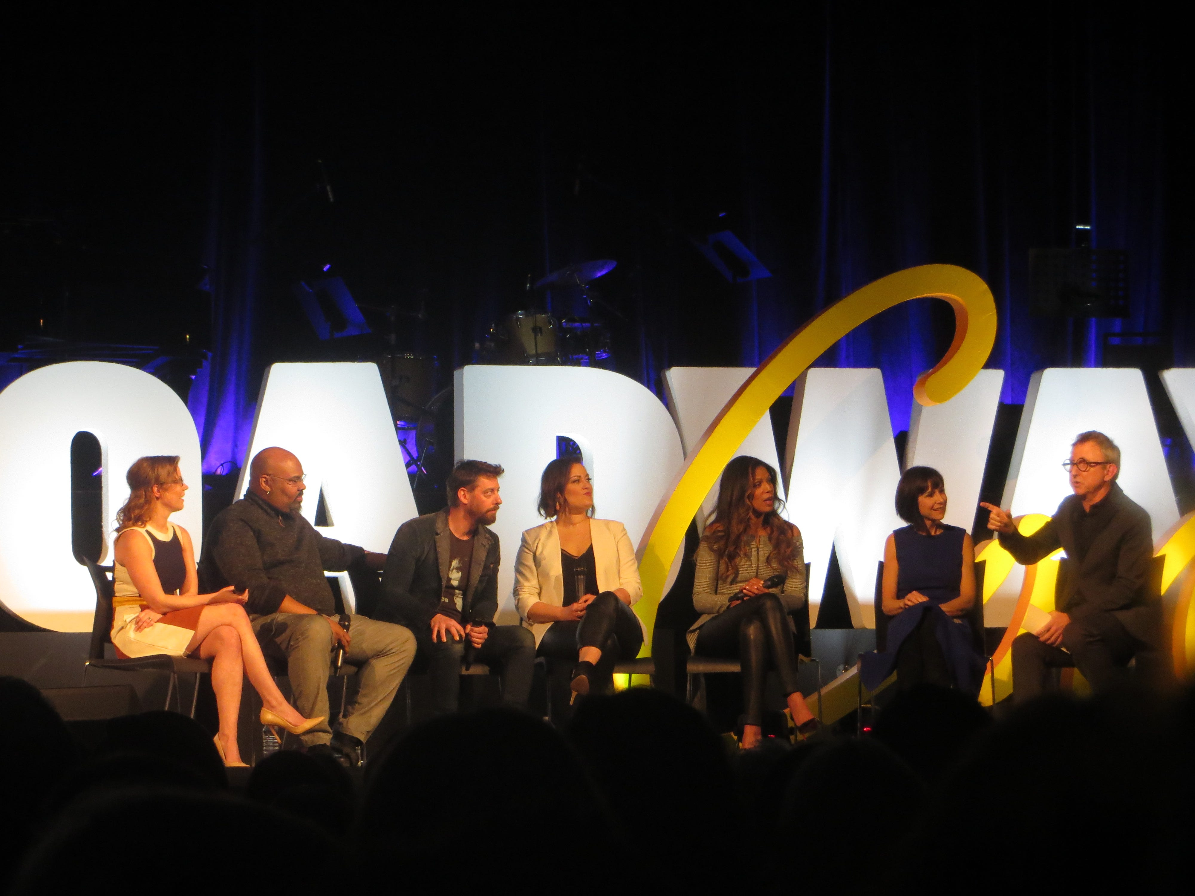 Patti Murin, James Monroe Iglehart, Christian Borle, Ashley Brown, Merle Dandridge and Susan Egan take part in a discussion with Thomas Schumacher during a Disney on Broadway at 25 panel at BroadwayCon 2019, held Jan. 11 to 13, 2019, at the New York Hilton Midtown in Manhattan.