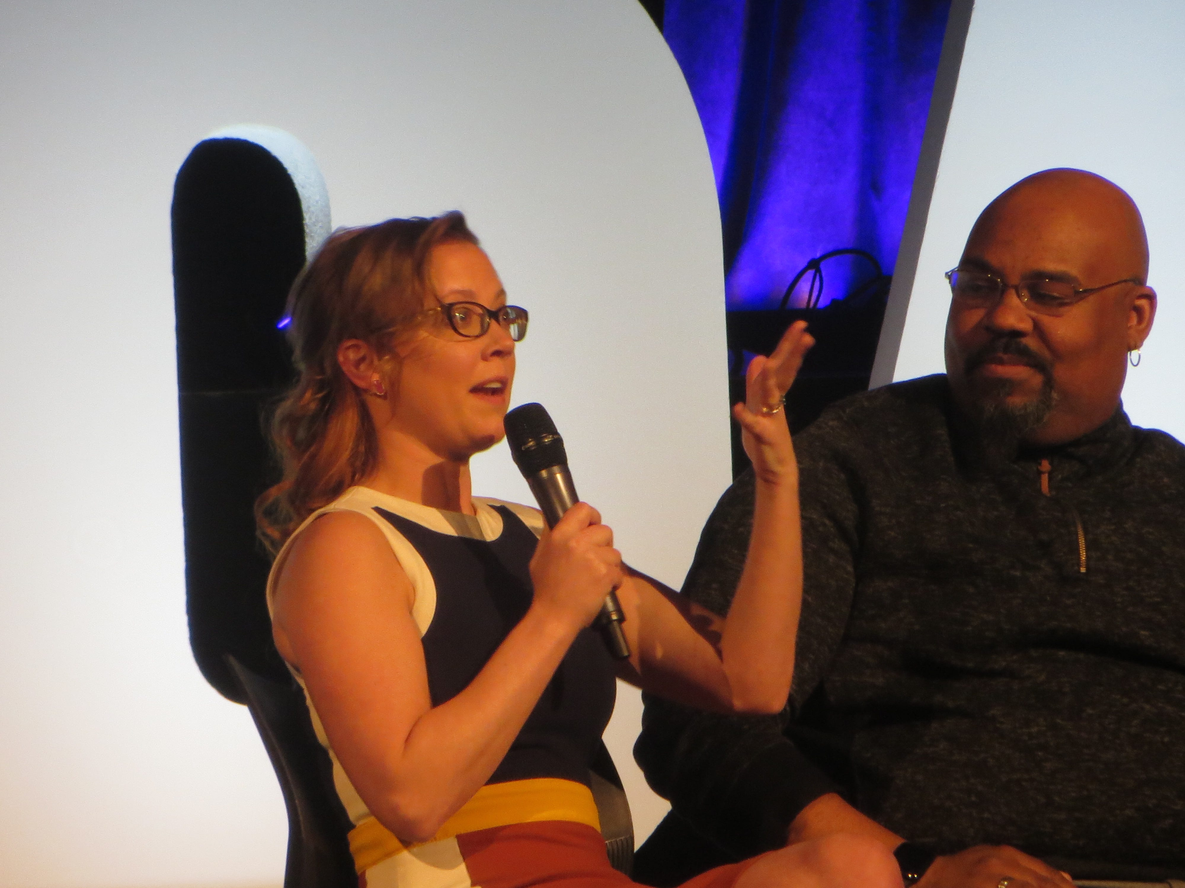 Patti Murin speaks during a Disney on Broadway at 25 panel at BroadwayCon 2019, held Jan. 11 to 13, 2019, at the New York Hilton Midtown in Manhattan.