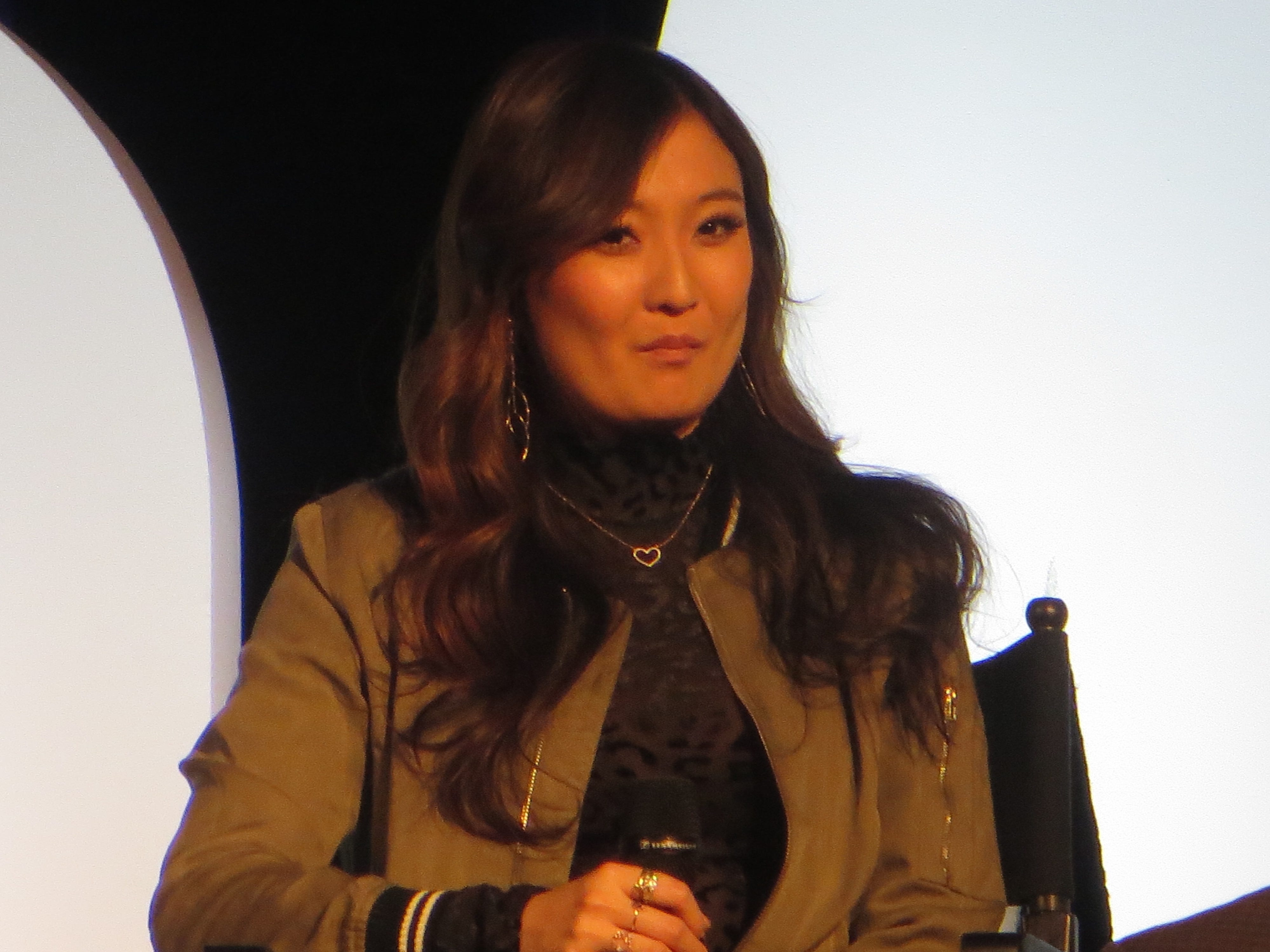 "Ashley Park speaks during a spotlight on ""Mean Girls"" at BroadwayCon 2019, held Jan. 11 to 13, 2019, at the New York Hilton Midtown in Manhattan."