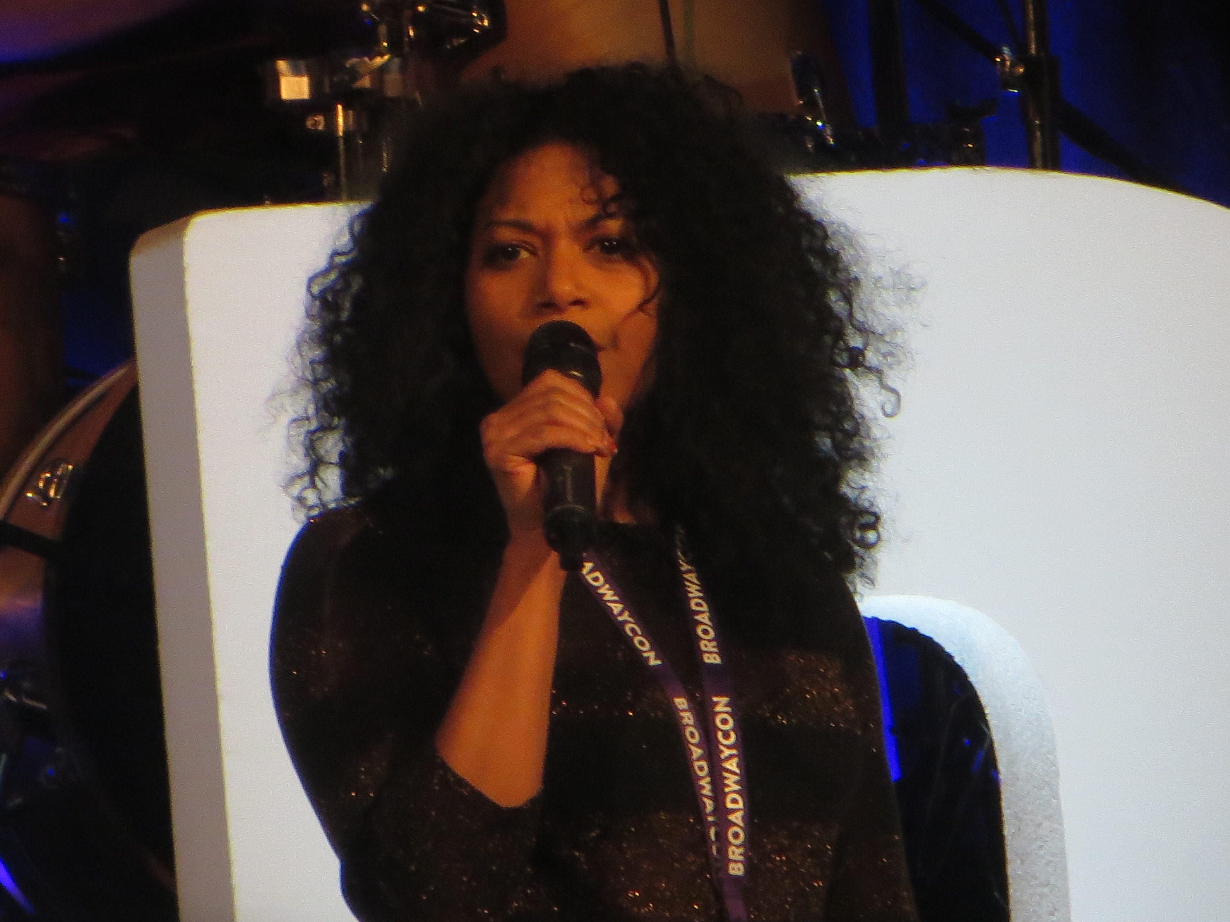 Rebecca Naomi Jones performs at BroadwayCon 2019, held Jan. 11 to 13, 2019, at the New York Hilton Midtown in Manhattan.