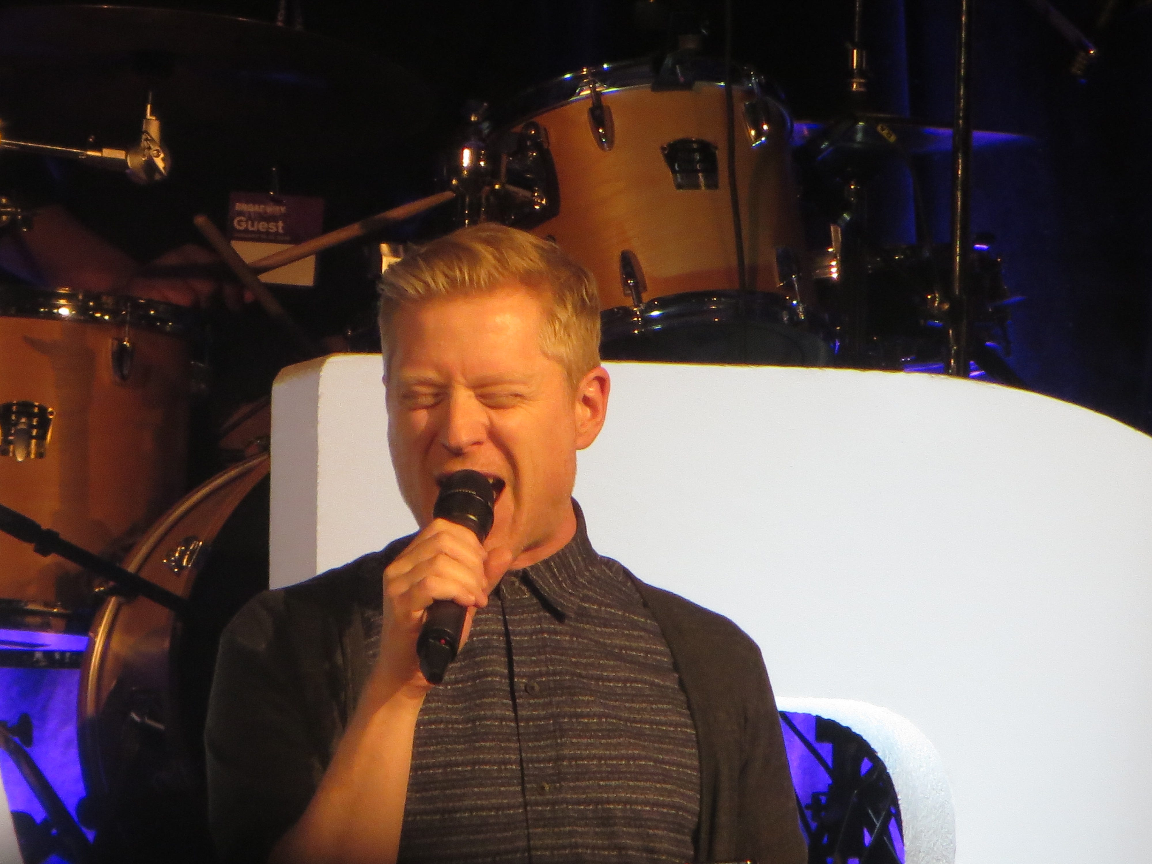 Anthony Rapp performs at BroadwayCon Jukebox at BroadwayCon 2019, held Jan. 11 to 13, 2019, at the New York Hilton Midtown in Manhattan.