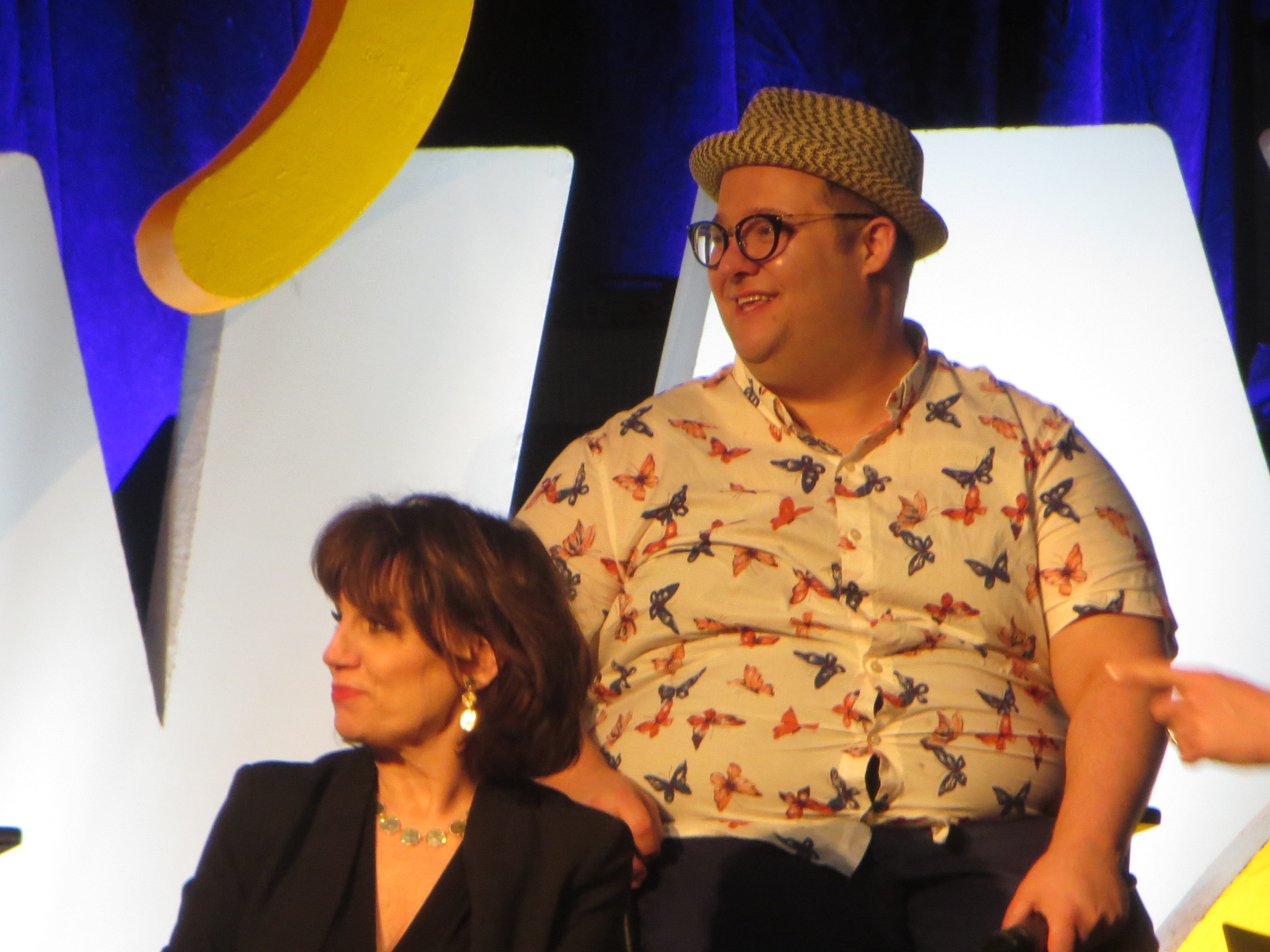 "Josh Lamon and Beth Leavel take part in a panel on ""The Prom"" at BroadwayCon 2019, held Jan. 11 to 13, 2019, at the New York Hilton Midtown in Manhattan."