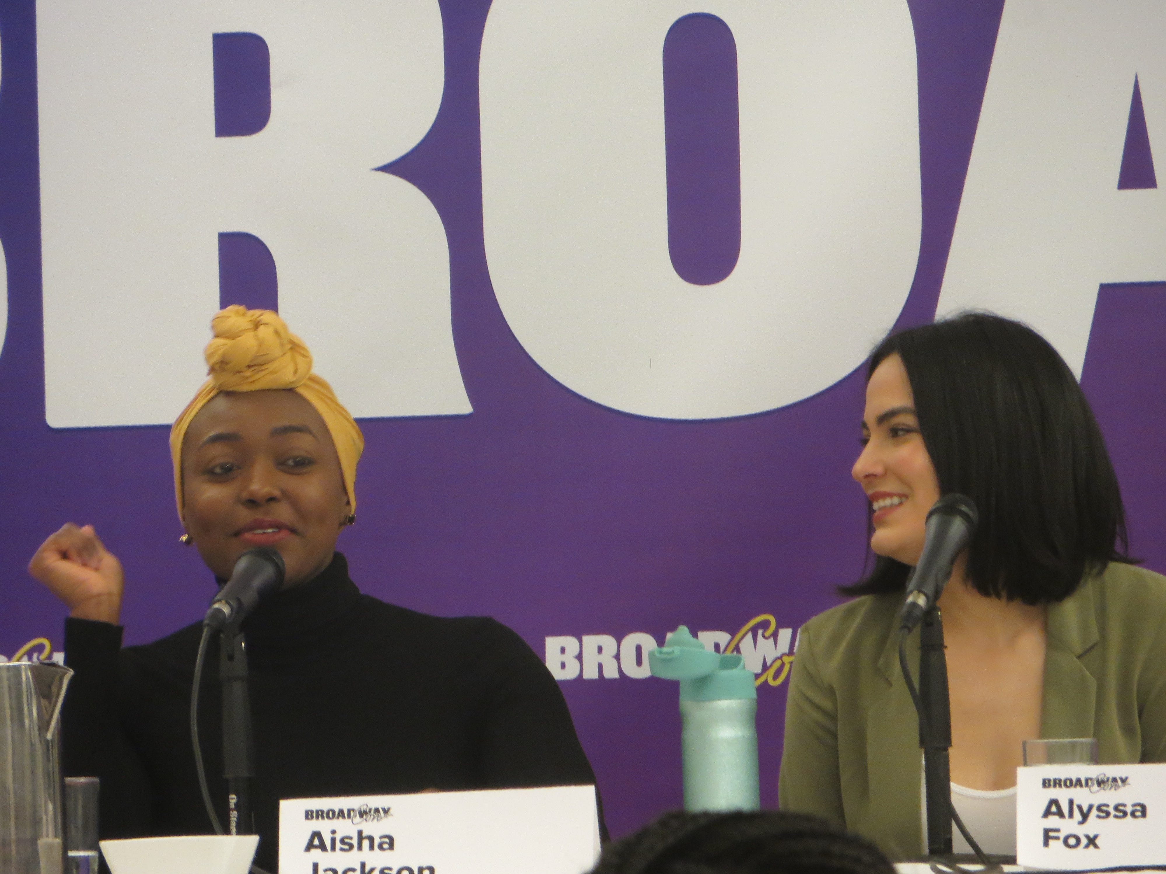 "Aisha Jackson and Alyssa Fox of ""Frozen"" take part in a panel at BroadwayCon 2019, held Jan. 11 to 13, 2019, at the New York Hilton Midtown in Manhattan."