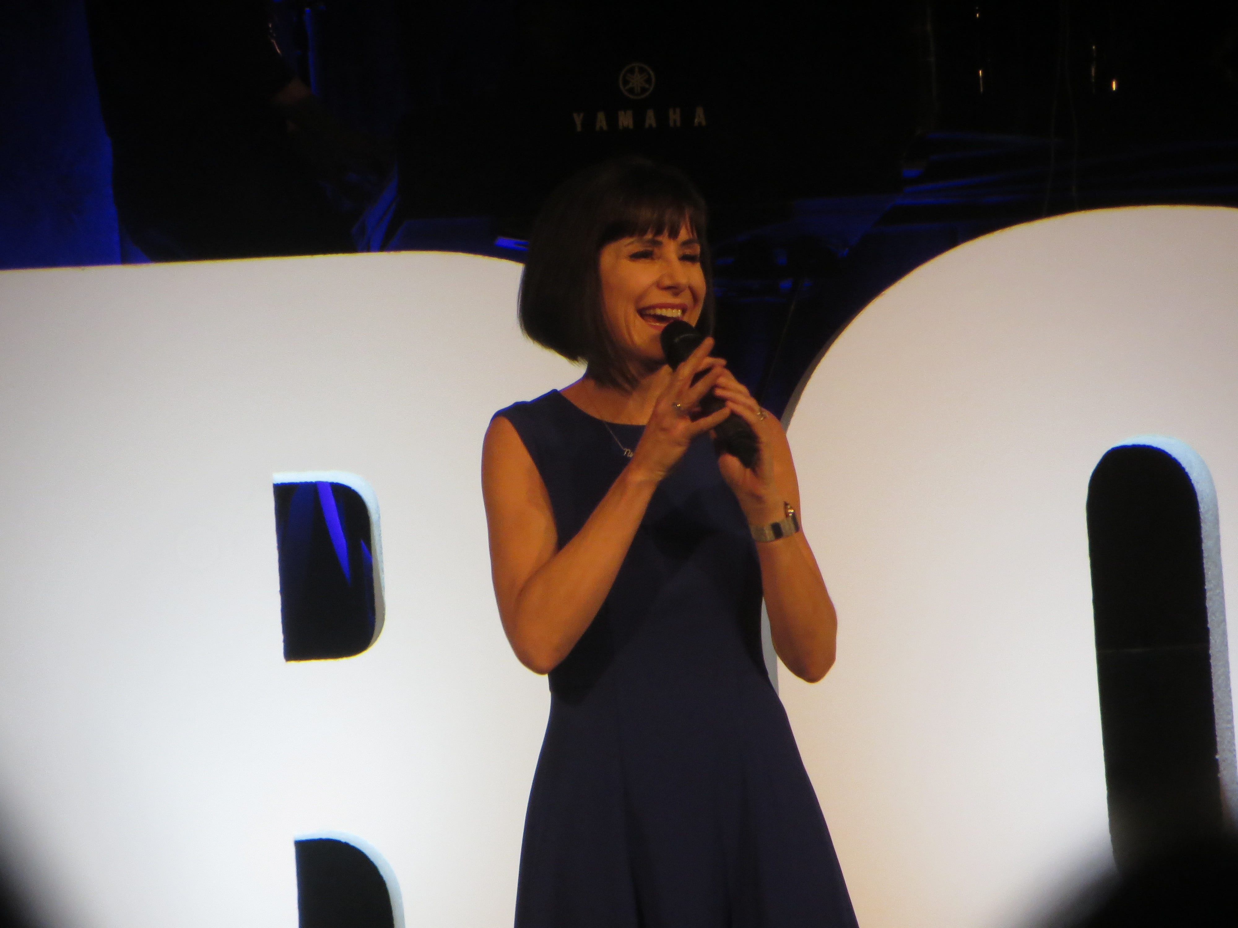 Susan Egan sings during the opening ceremony at BroadwayCon 2019, held Jan. 11 to 13, 2019, at the New York Hilton Midtown in Manhattan.
