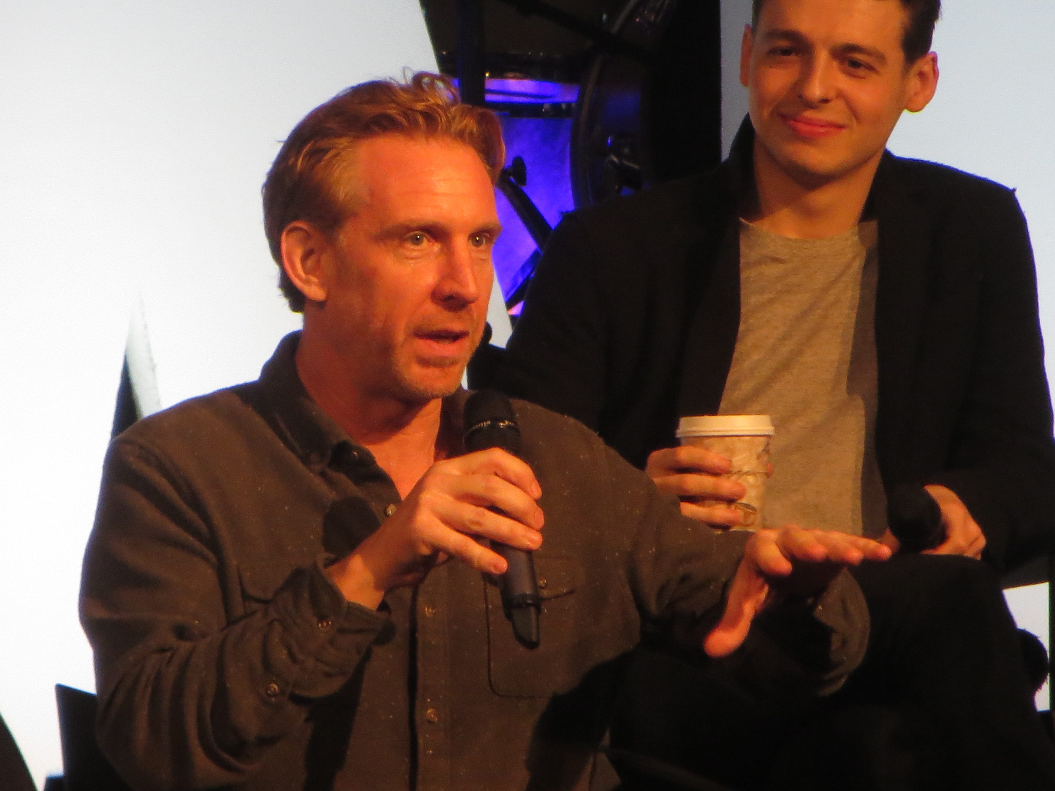 """Paul Thornley speaks during the """"Harry Potter and the Cursed Child"""" spotlight at BroadwayCon 2019, held Jan. 11 to 13, 2019, at the New York Hilton Midtown in Manhattan."""
