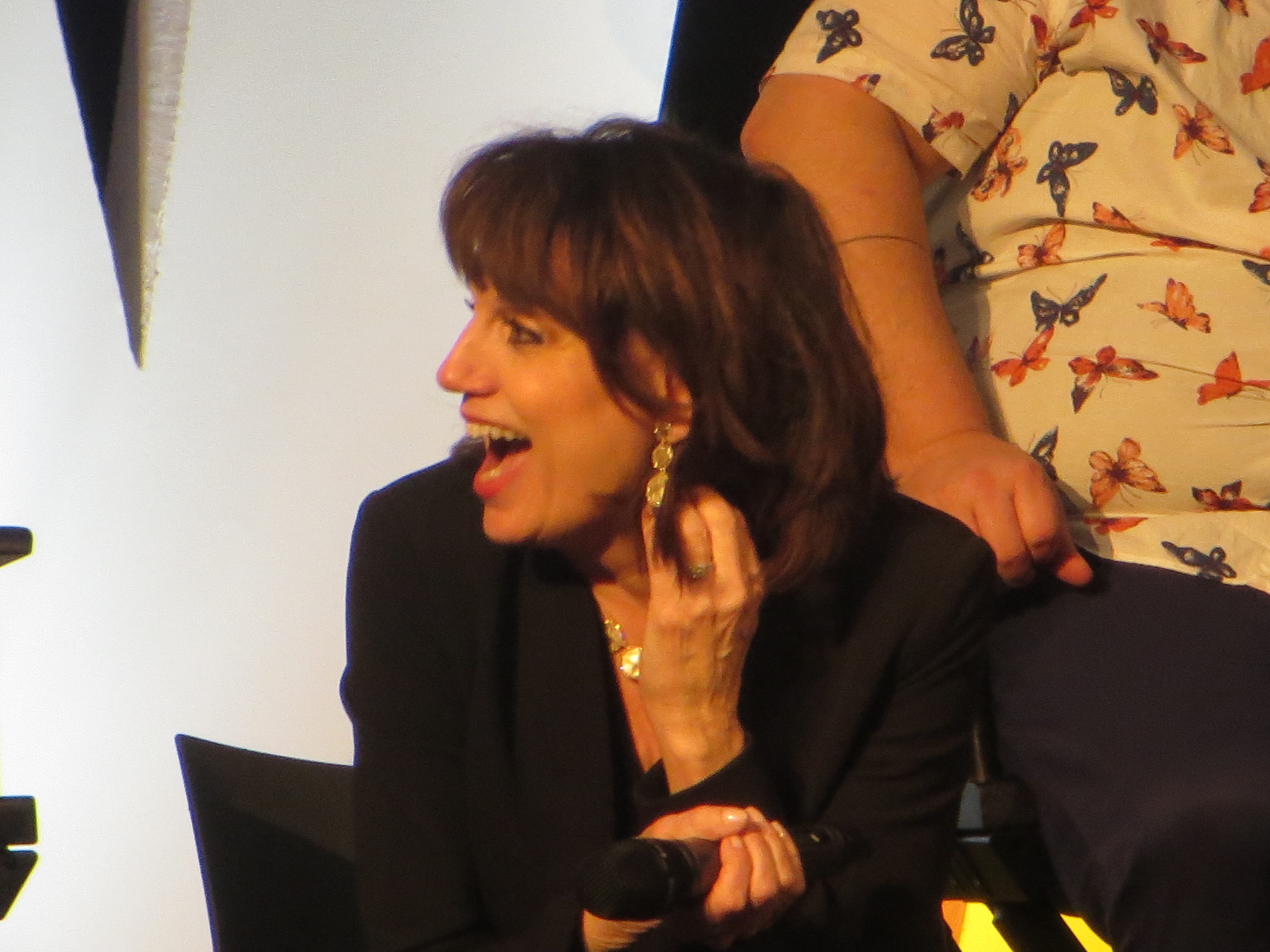 "Beth Leavel laughs during a spotlight on ""The Prom"" at BroadwayCon 2019, held Jan. 11 to 13, 2019, at the New York Hilton Midtown in Manhattan."