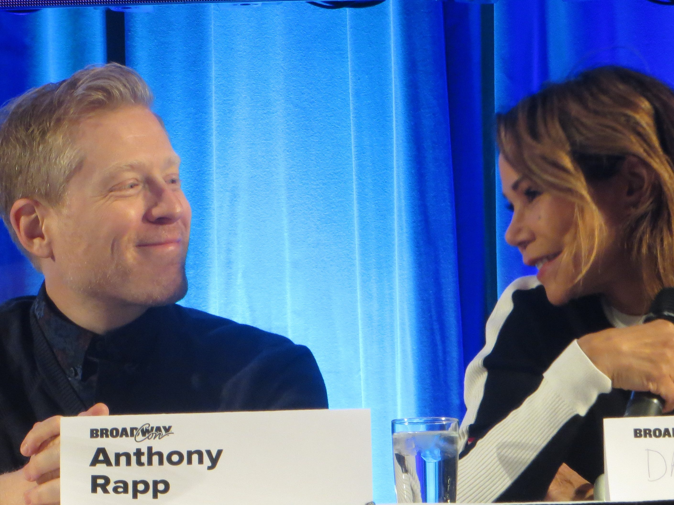 Anthony Rapp and Daphne Rubin-Vega take part in the Rentheads: Where Are We Now panel at BroadwayCon 2019, held Jan. 11 to 13, 2019, at the New York Hilton Midtown in Manhattan.