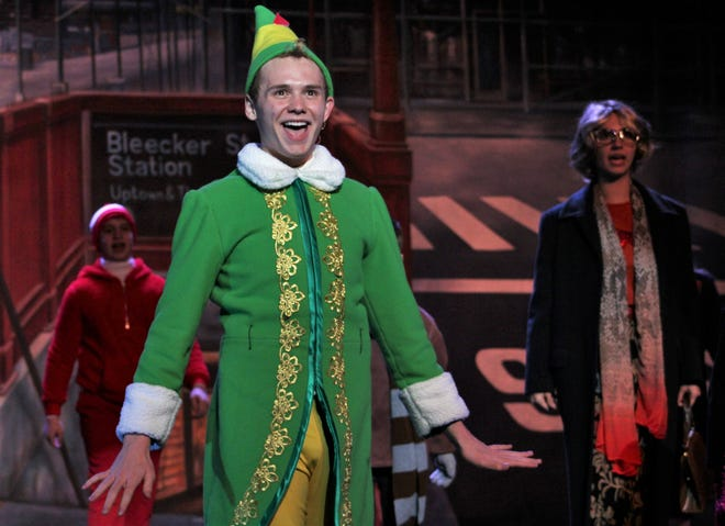 "Brent Bardin, an Abilene High sophomore, is Buddy, the star of ""Elf, the Musical, Jr."" The stage version of the popular movie opens Friday at the Paramount Theatre, featuring a cast ranging in age from 8 to 18."