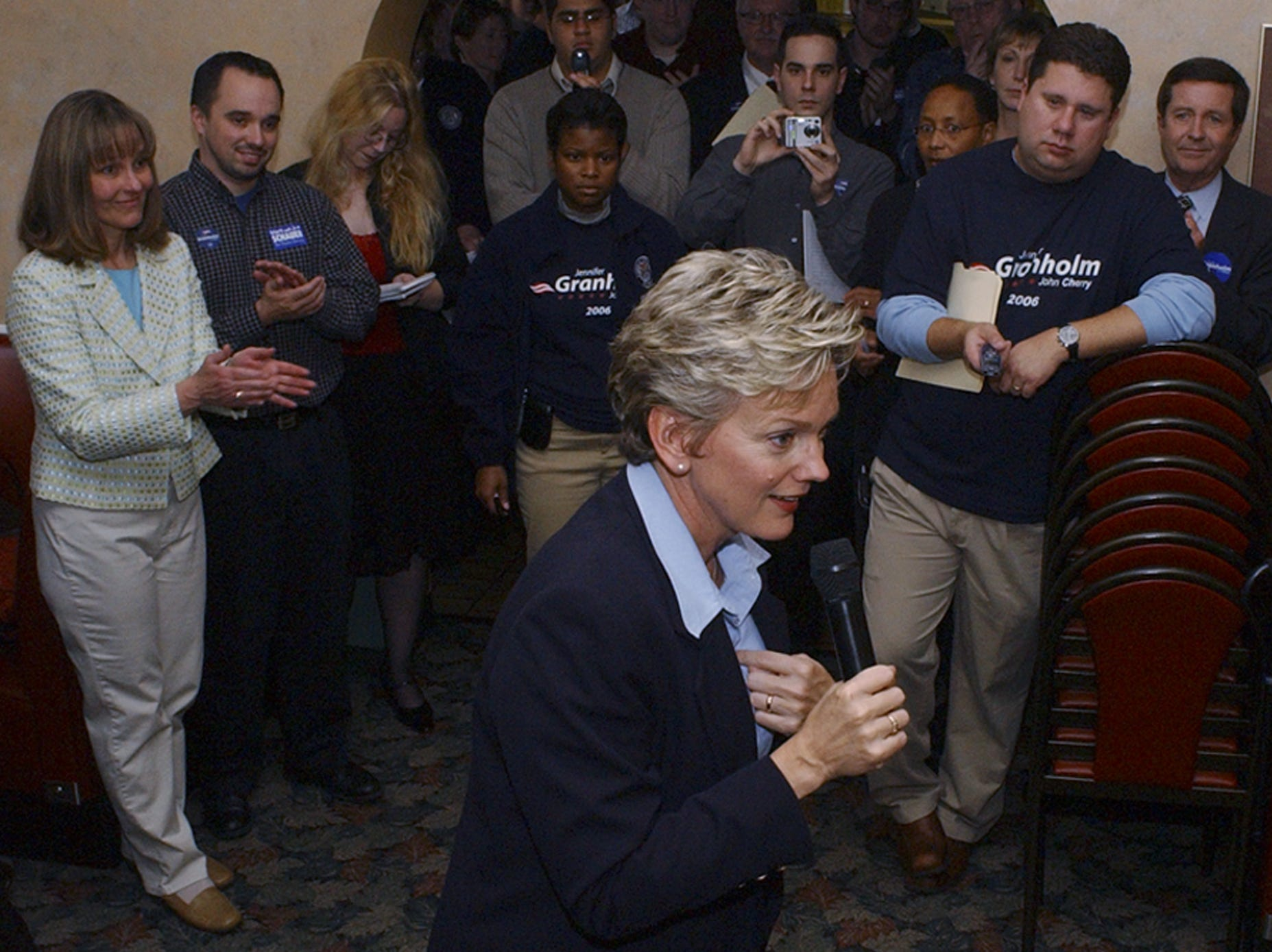 Michigan Governor Jennifer Granholm campaigned in Battle Creek Monday afternoon during an appearance at Shrank's in 2006.