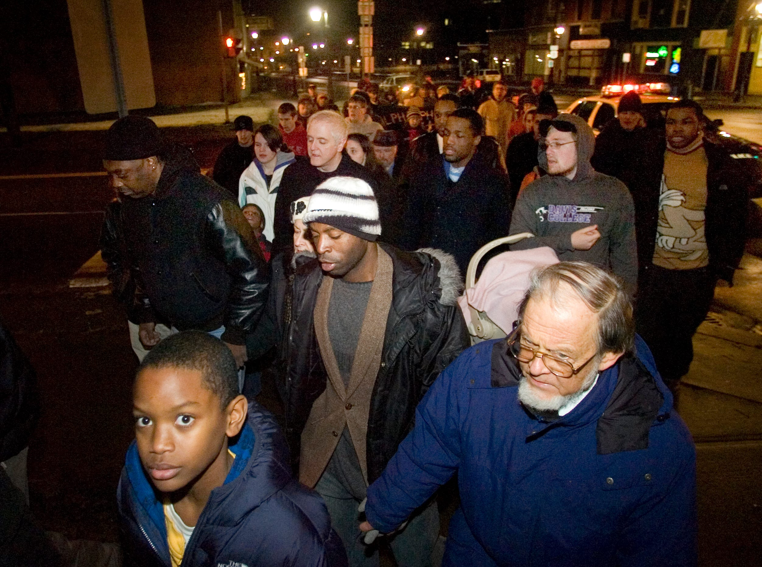 2010: Community members and officials march in downtown Binghamton to honor Martin Luther King Jr. on Monday. The event began at Water and Henry streets in Binghamton (Martin Luther King Promenade) and continued to the First Congregational Church at Main and Front streets. The march was followed by a celebration and service at the church.