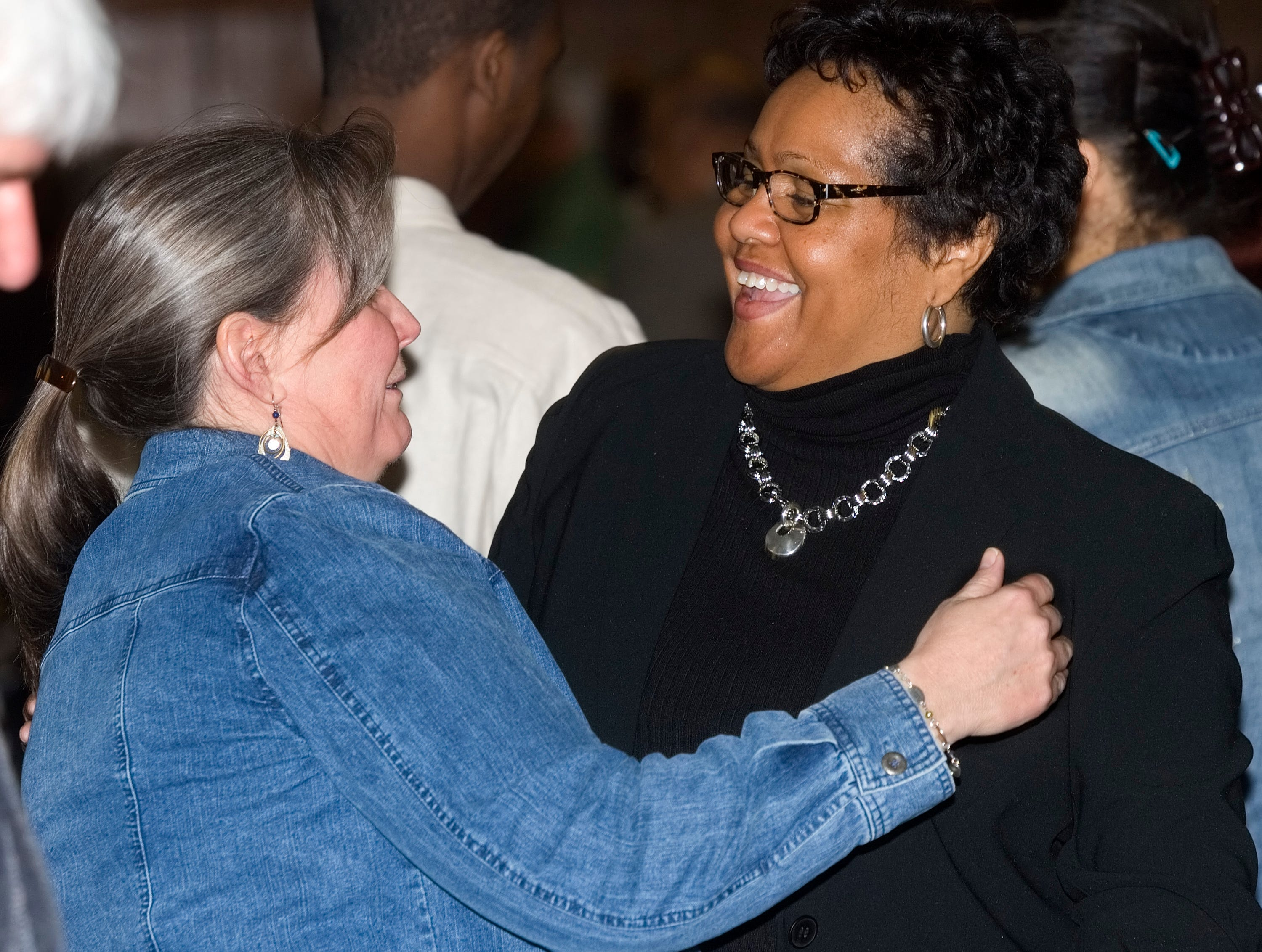 """2009: Penney Forbes of Elmira, left, embraces Deloris Shobe of Painted Post Saturday during the breakfast to honor the Rev. Dr. Martin Luther King Jr. at Radisson hotel in Corning. """"I just met her today,"""" said Forbes of Shobe. """"We had a great conversation here."""""""