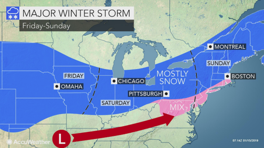 AccuWeather is predicting a storm that will sweep from the Plains to the Atlantic coast and may cause travel problems.